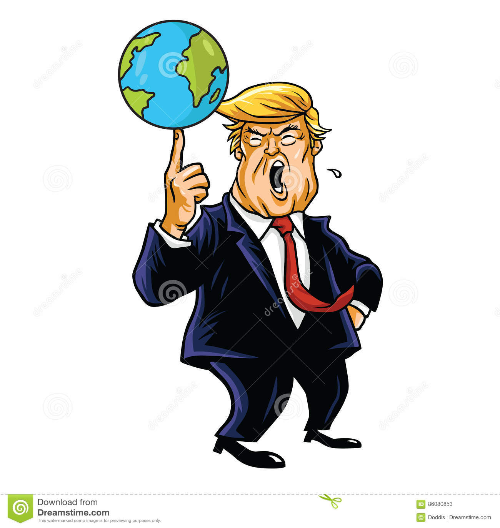 Donald Trump Cartoon Playing Globe Vector Caricature