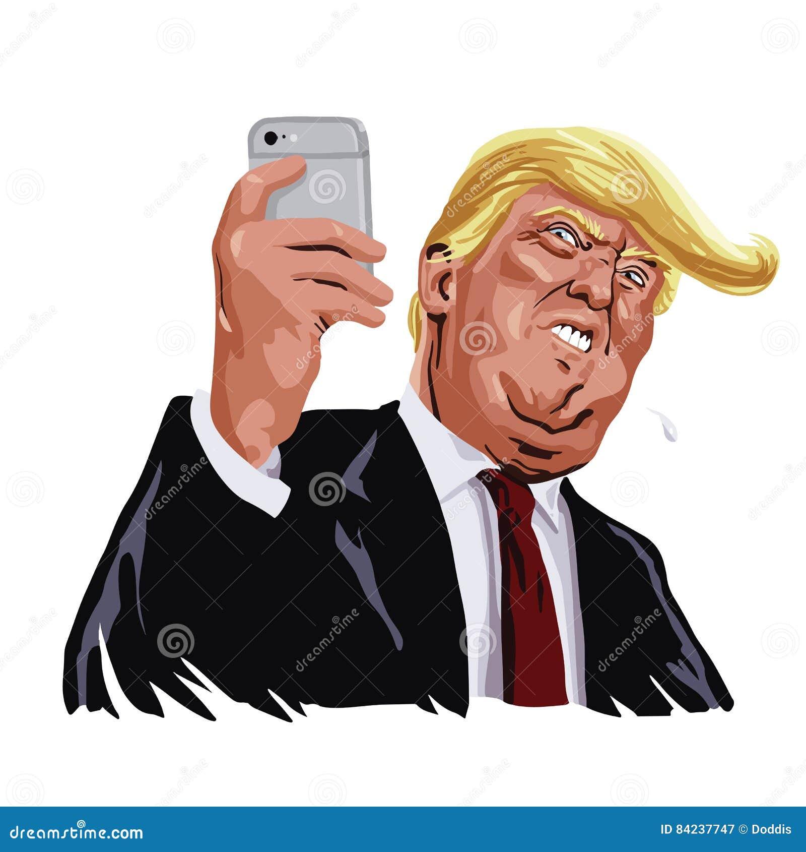 Donald Trump e caricatura social dos desenhos animados do retrato do vetor dos meios
