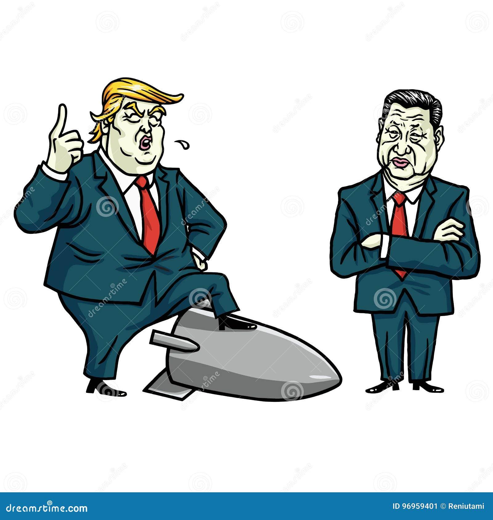 Donald Trump e Xi Jinping Ilustração do vetor dos desenhos animados 29 de julho de 2017