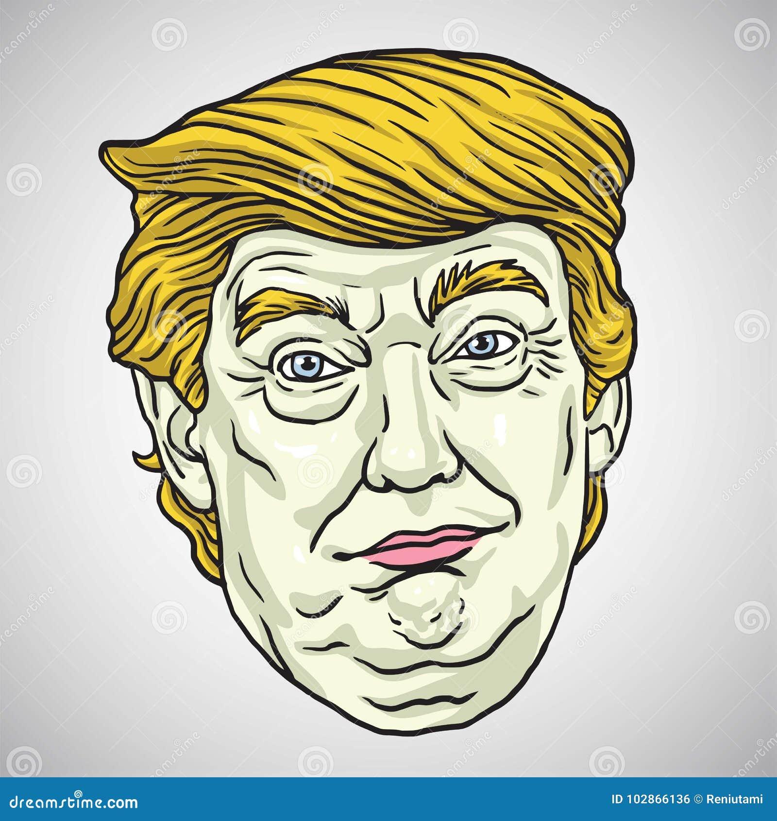Donald Trump Face Ilustração dos desenhos animados do vetor 30 de outubro de 2017