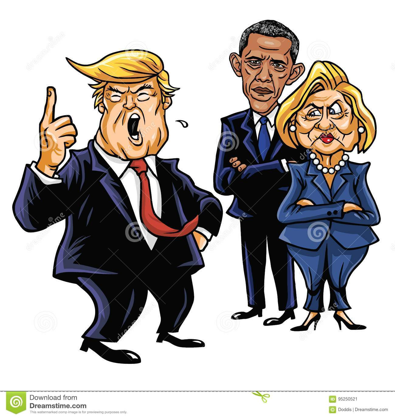 Donald Trump, Hillary Clinton, e Barack Obama Ilustração do vetor da caricatura dos desenhos animados 29 de junho de 2017