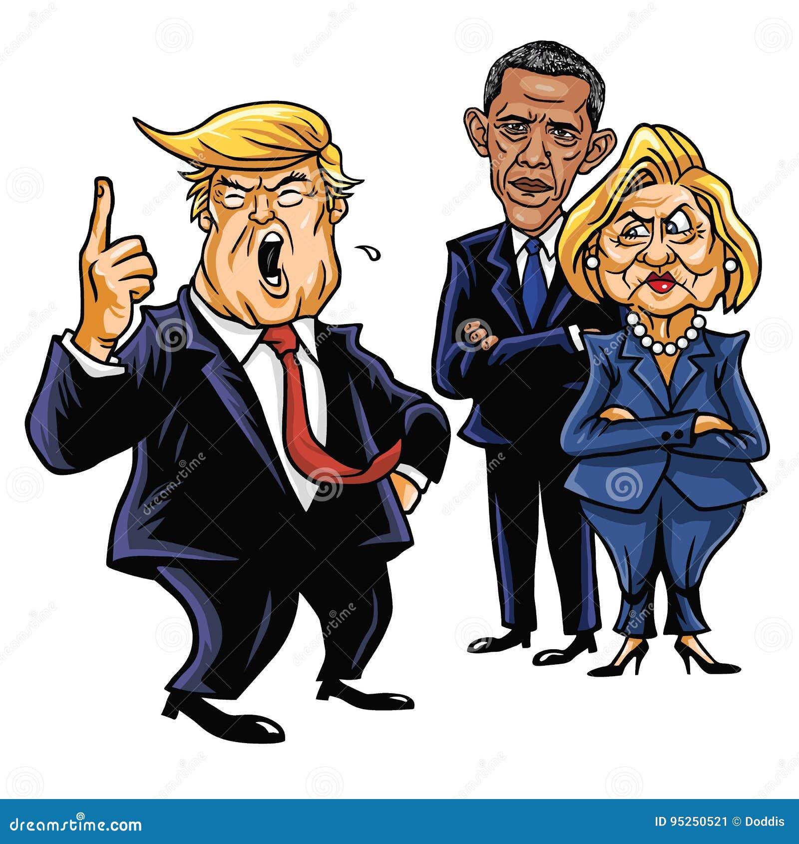 Donald Trump Hillary Clinton E Barack Obama Ilustracao Do Vetor