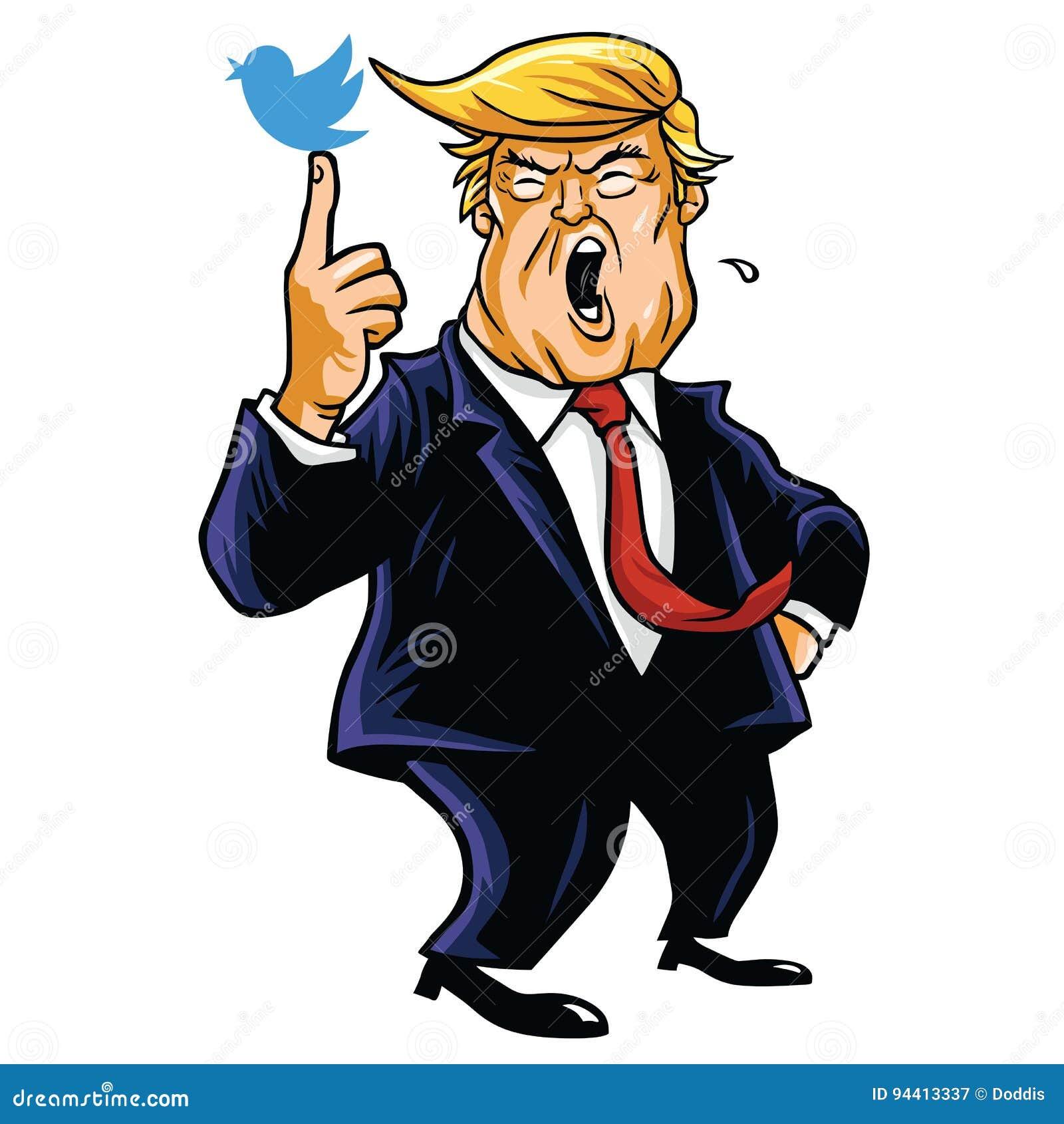 Donald Trump With His Blue Bird Cartoon Vector Illustration June