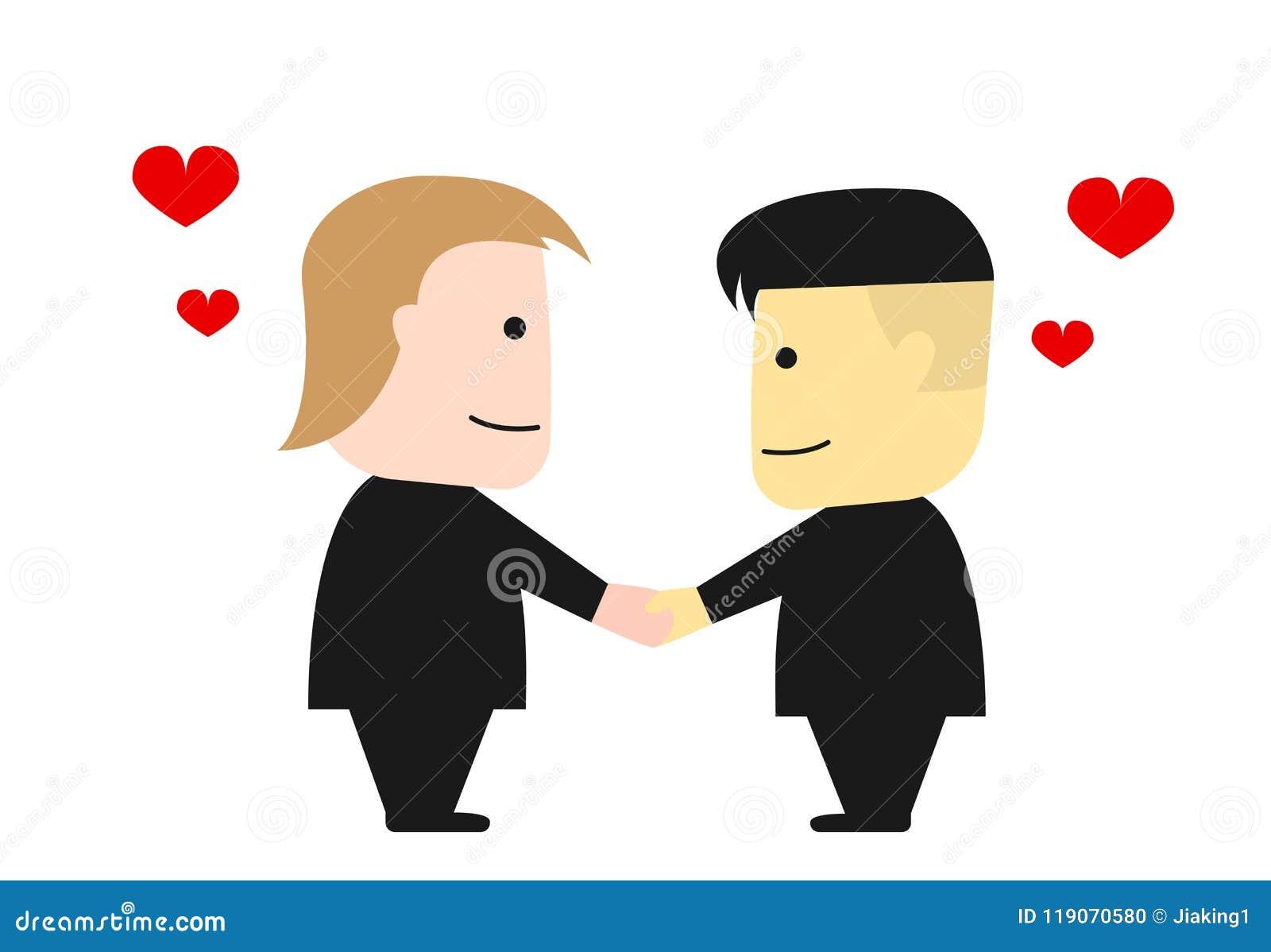 Donald Trump and Kim Jong Un shake hands, vector