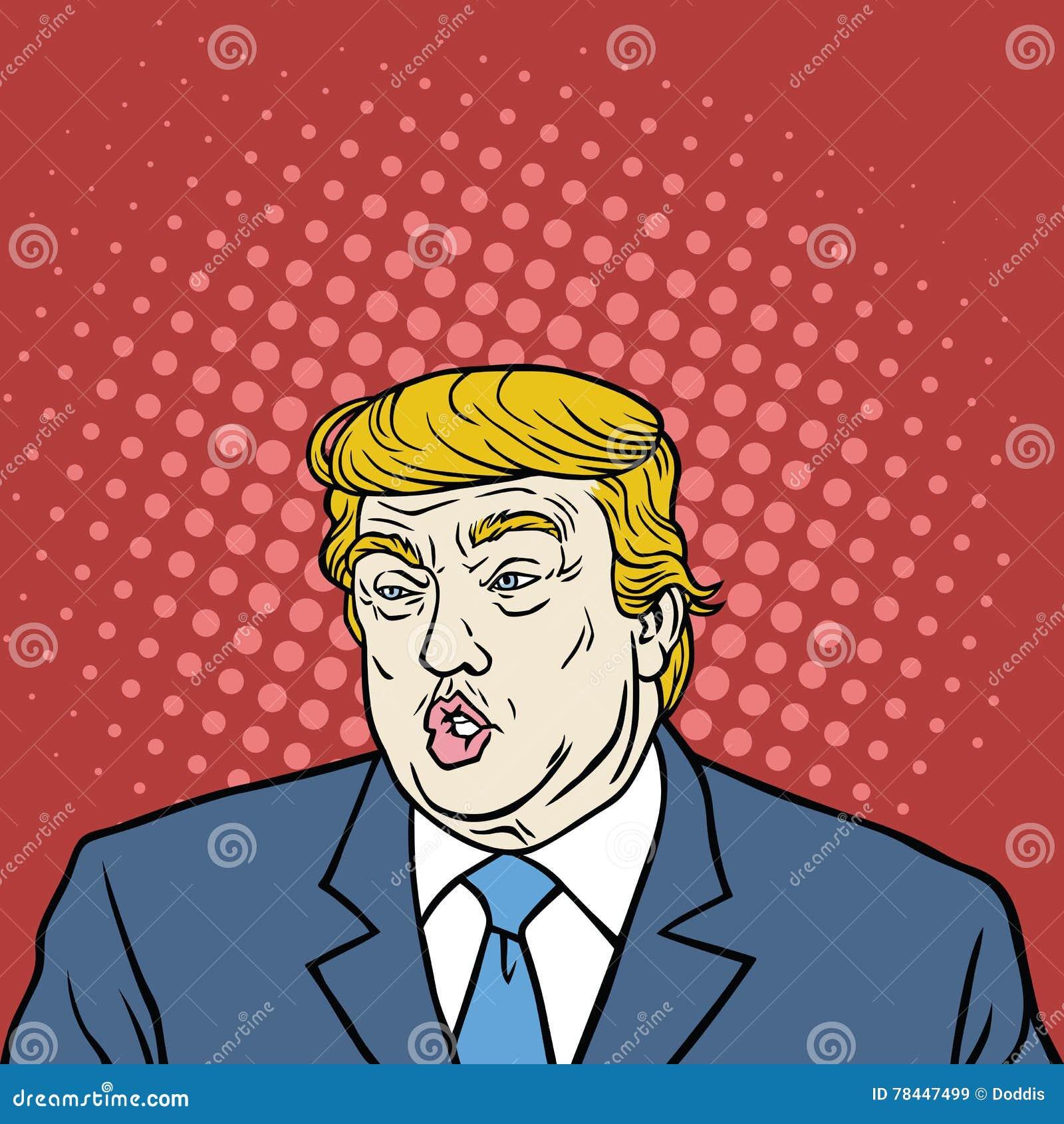 Donald Trump Pop Art Caricature ståendevektor