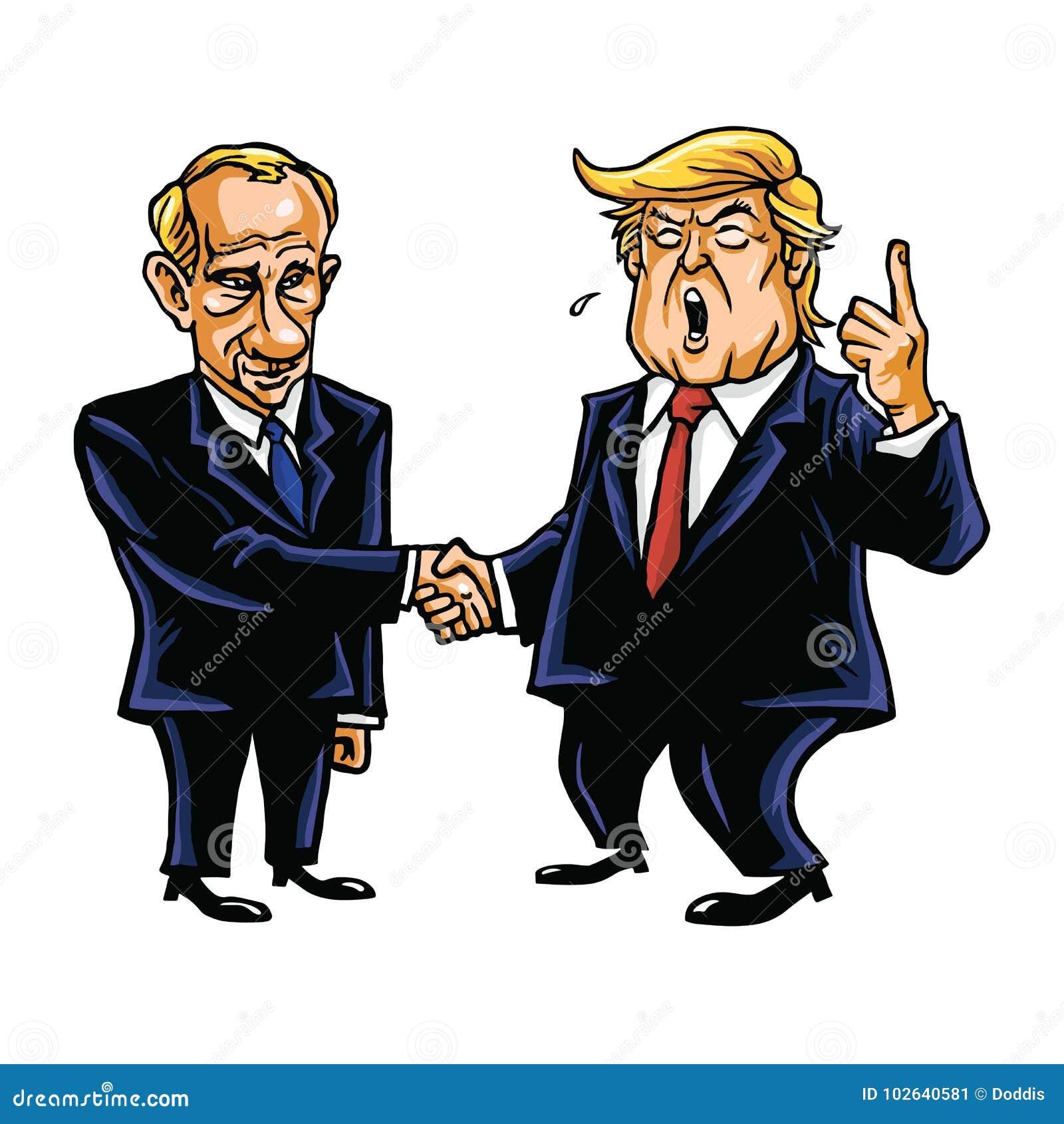 Donald Trump Shakes Hands com Vladimir Putin Ilustração do vetor da caricatura dos desenhos animados 26 de outubro de 2017