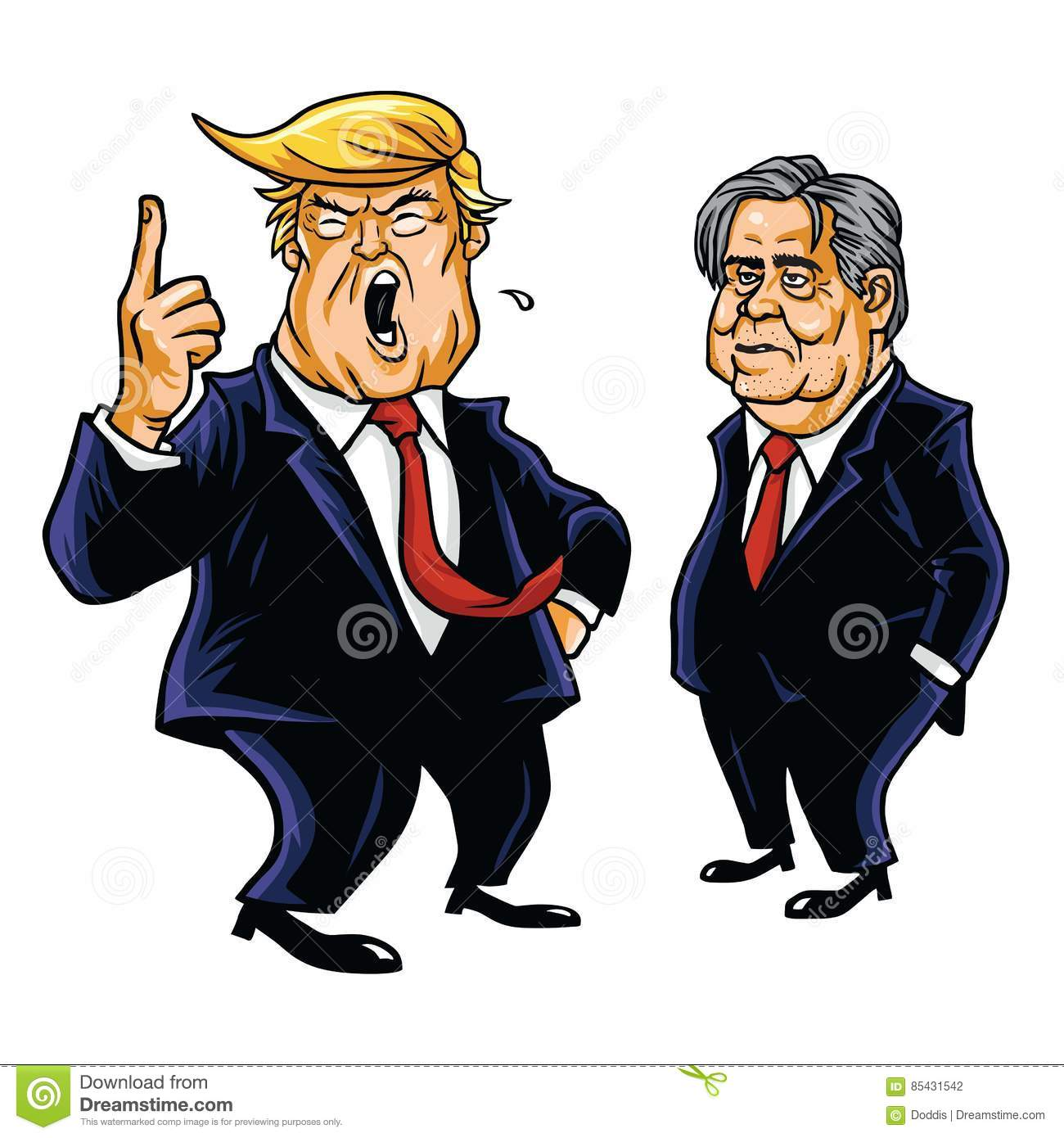 Donald Trump and Steve Bannon Vector Cartoon Caricature Editorial ...