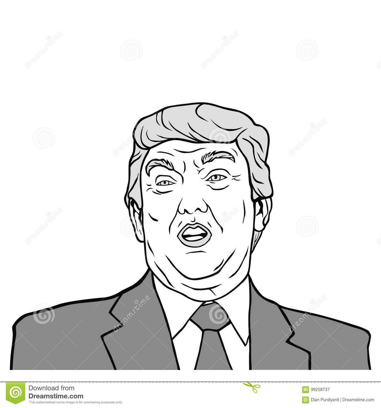 Donald trump 45th president of united states of america black and white vector design