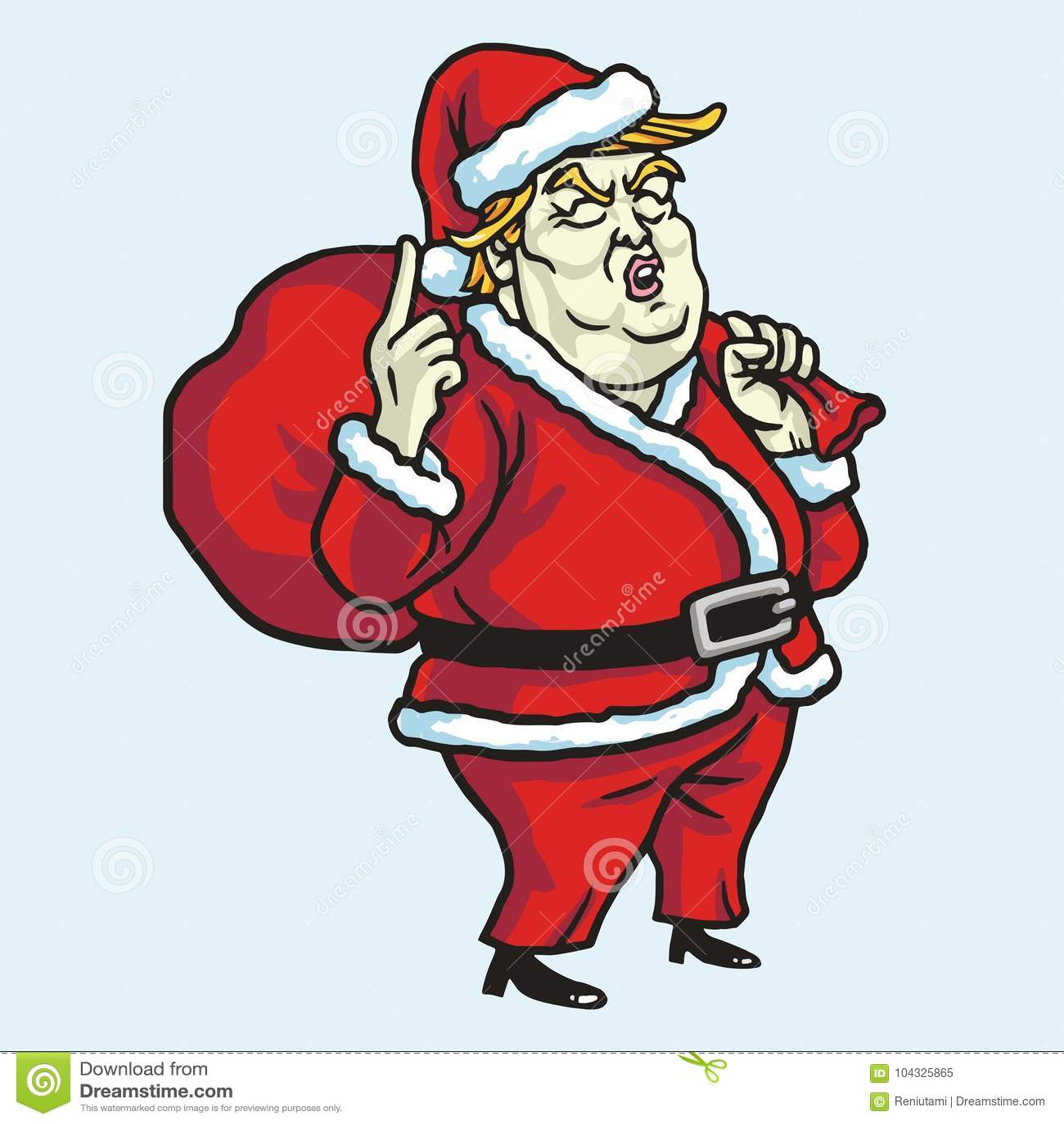 Donald Trump Wearing Santa Claus-Kostuum De Vectorillustratie van de Kerstmisviering 21 november, 2017