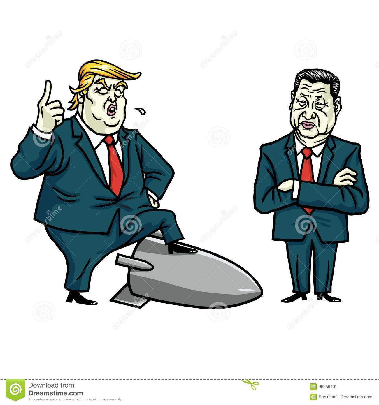 Donald Trump and Xi Jinping. Cartoon Vector Illustration. July 29, 2017