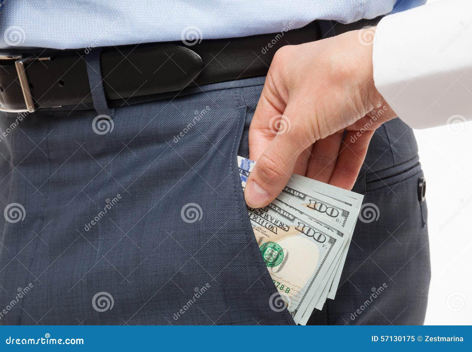 Donante de un soborno en un bolsillo