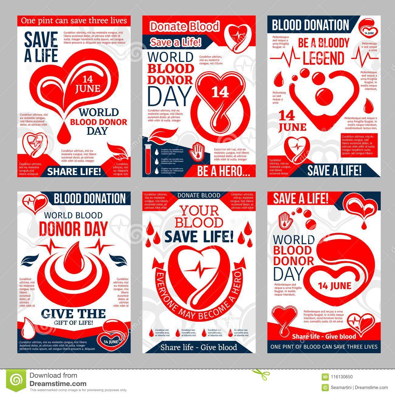 adb896439 Donate Blood promo poster for blood donor center and transfusion laboratory  template. Heart with red blood drop, helping hand and heartbeat medical  banner ...