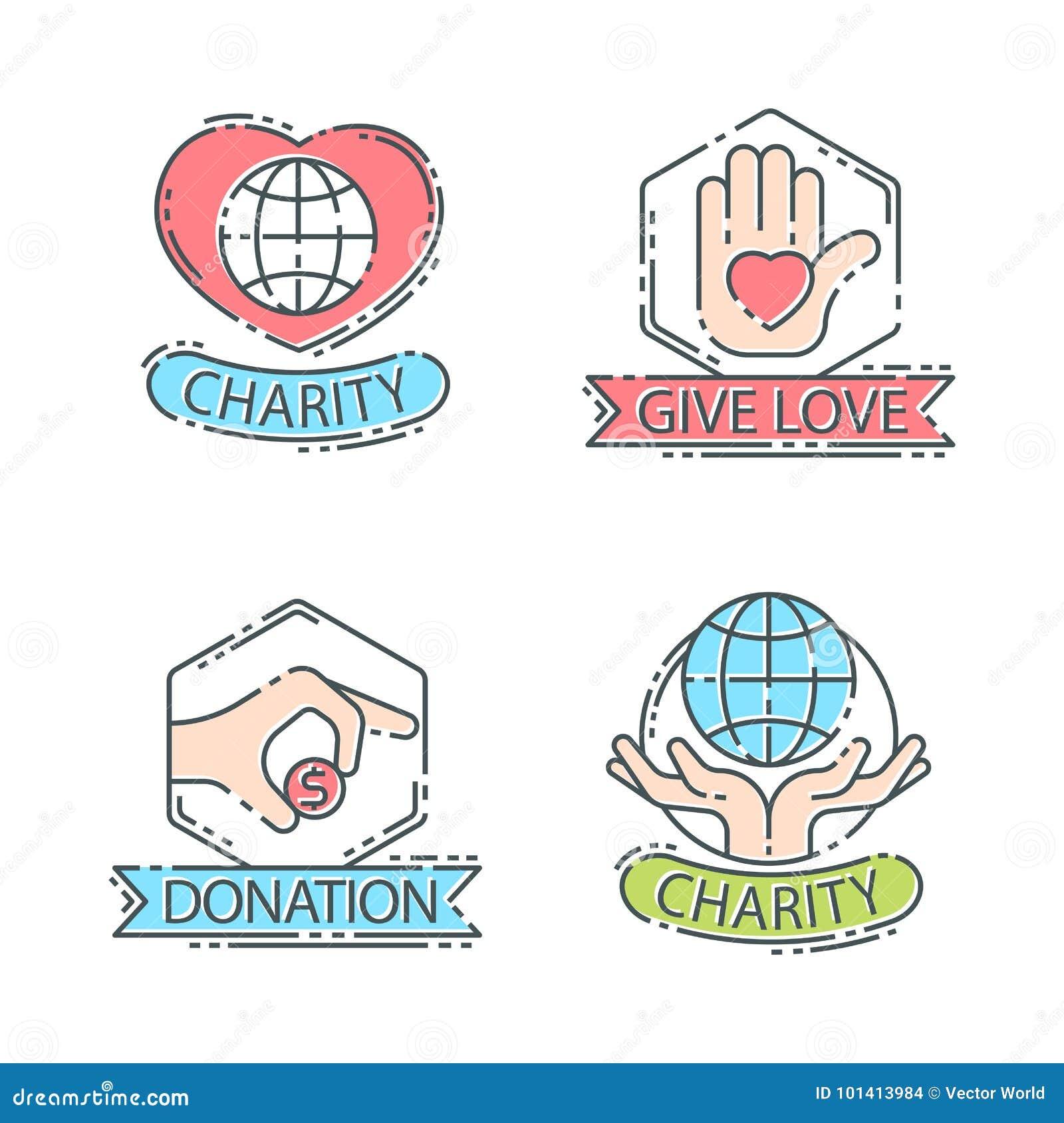 donate money set logo icons help icon donation stock vector