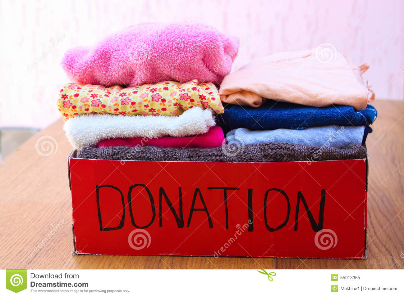 Donation Box With Clothes A Box Of Warm Clothes Stock
