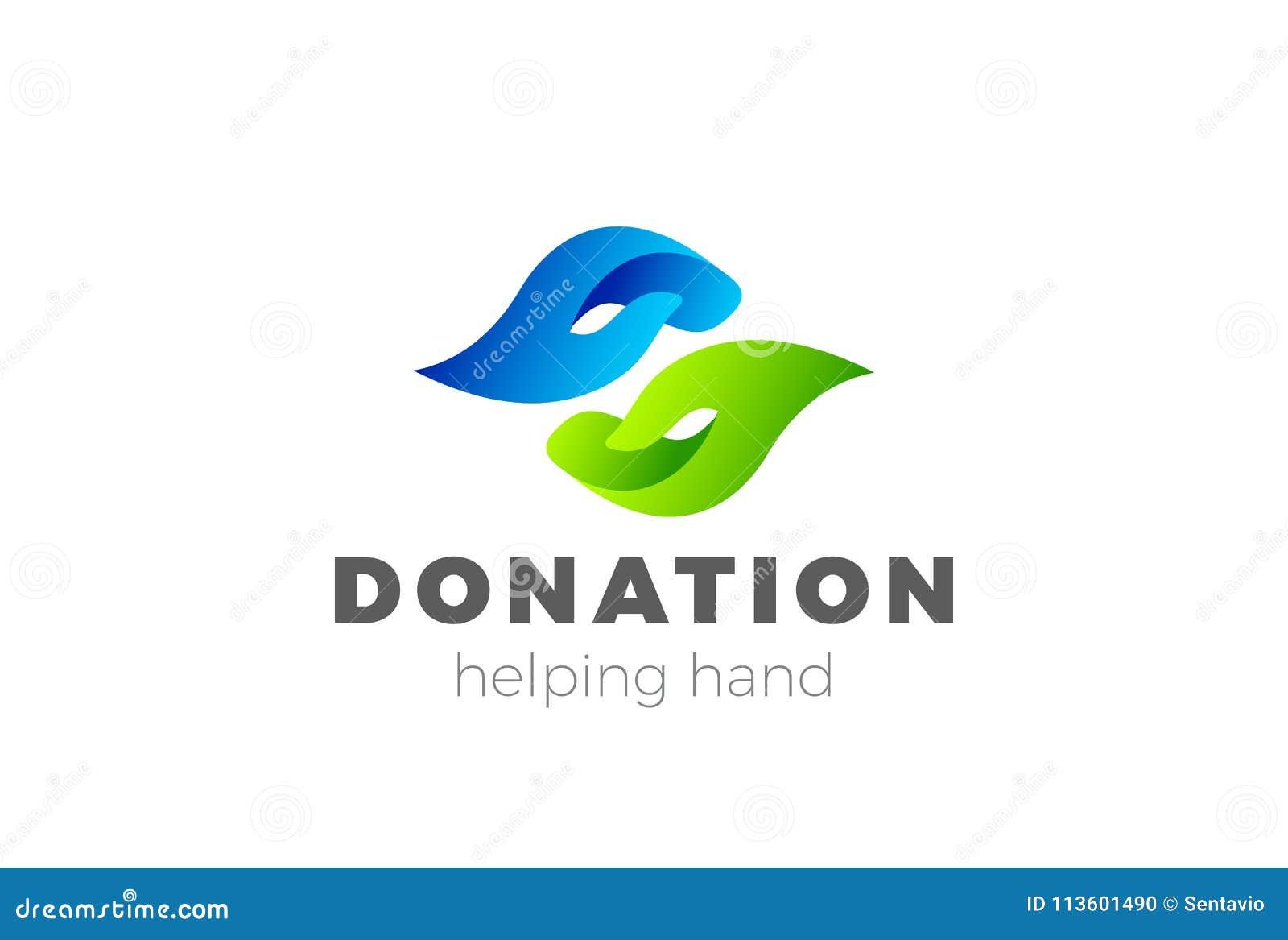 donation help hand logo design vector charity log stock vector