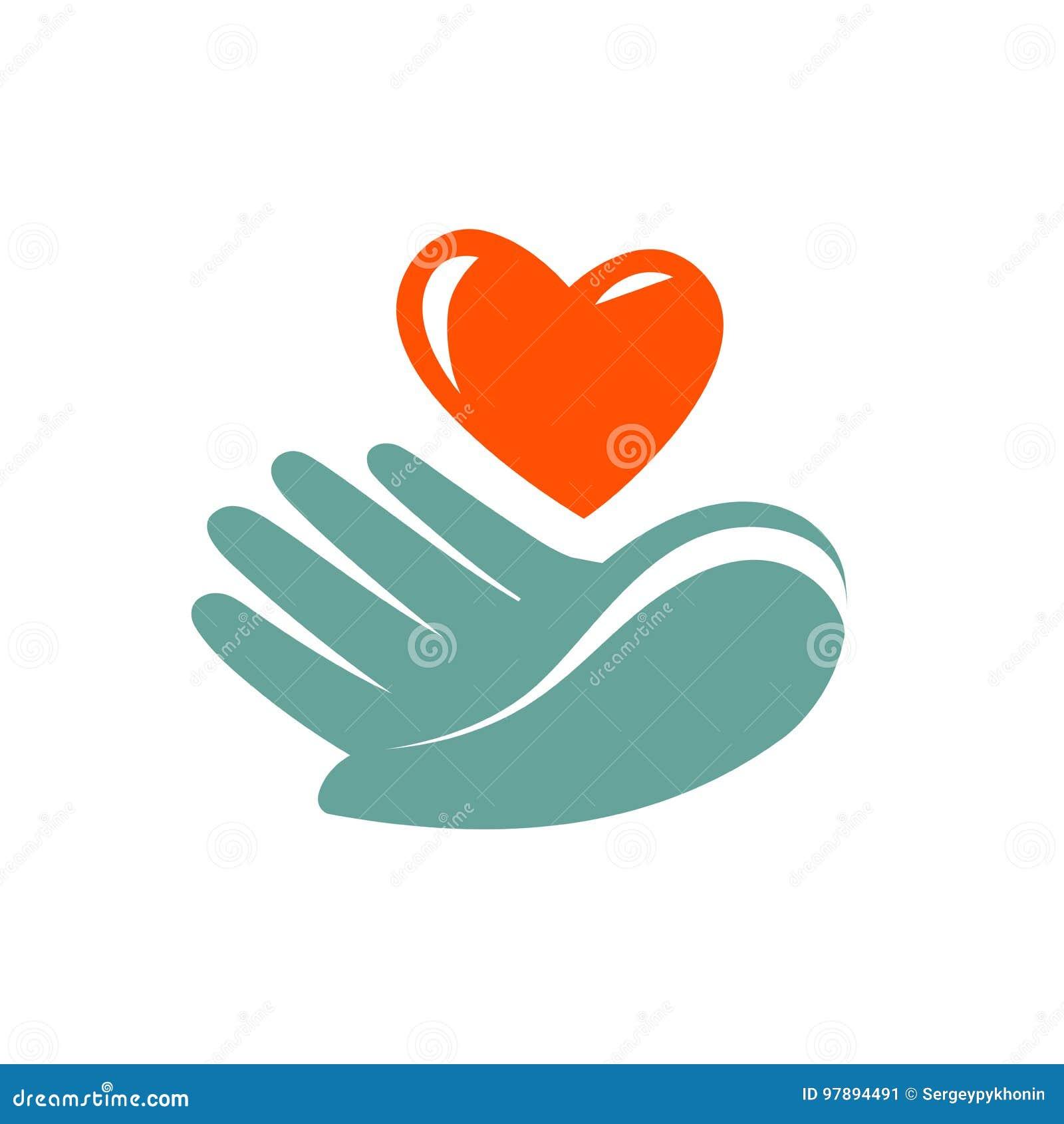 Donation, logo de charité ou label Main tenant l icône de coeur Symbole de vecteur