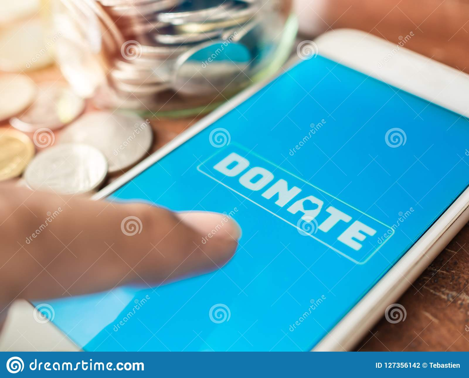 Donation money online by smart phone