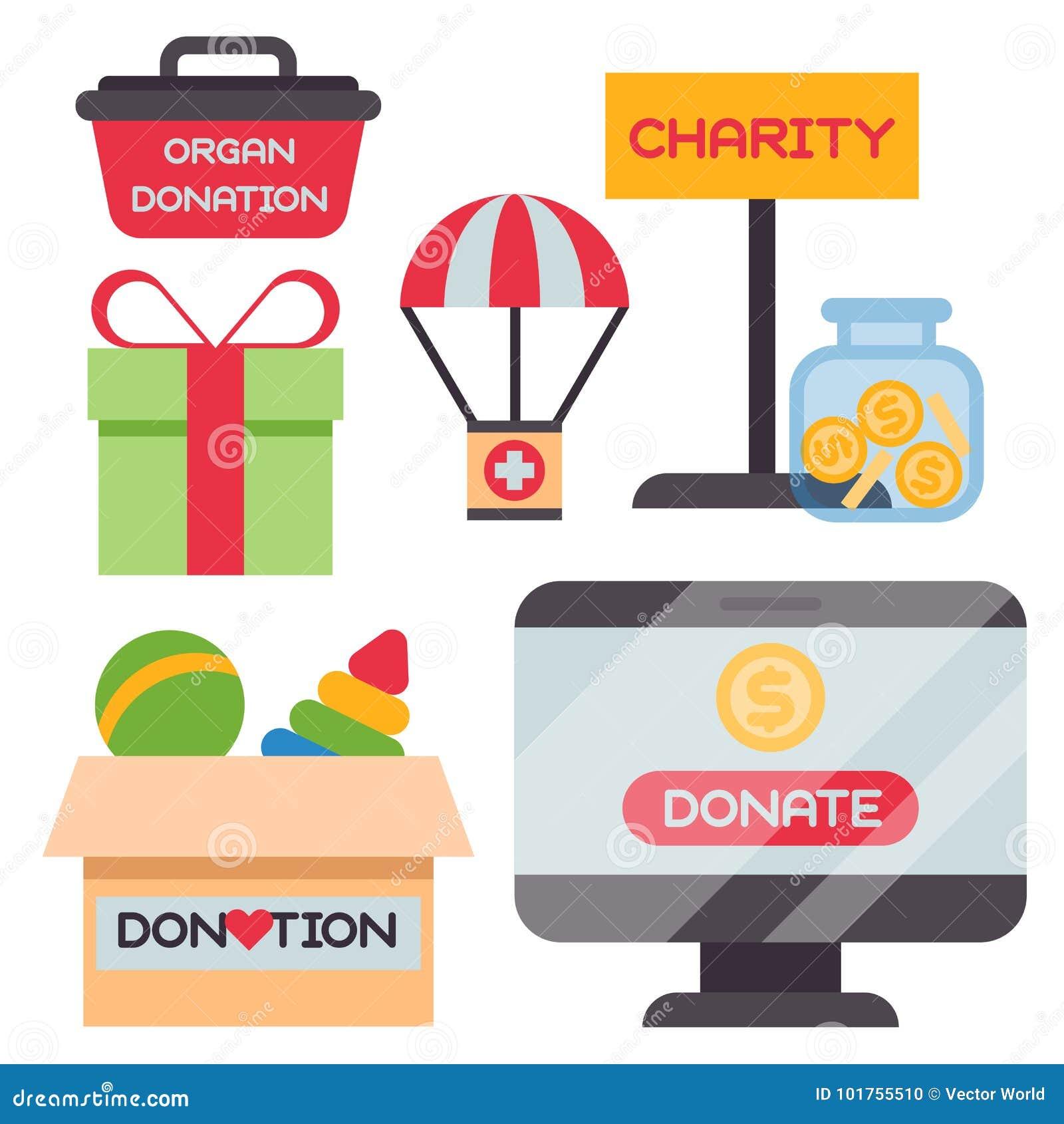 Done el vector de la ayuda de la humanidad de la filantropía de la caridad de la contribución de la donación de la filantropía de