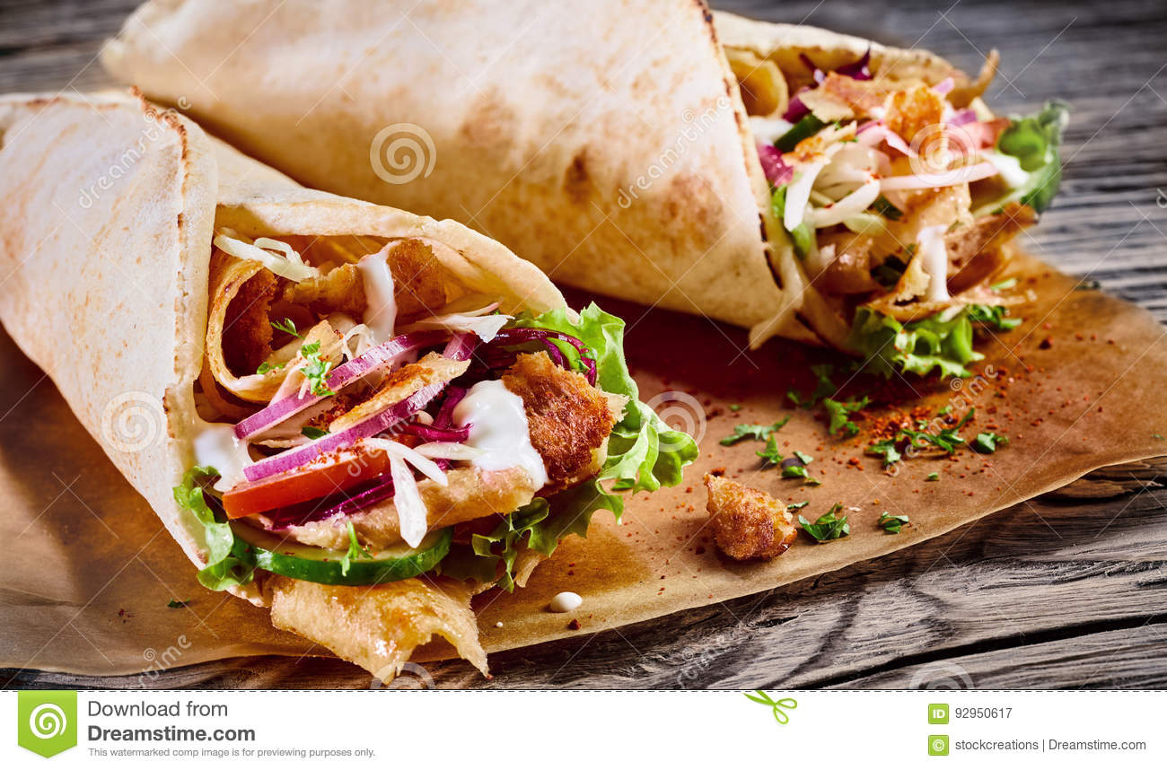 Doner Kebab In A Tortilla Wrap Stock Image Image Of Diet Mayonnaise 92950617