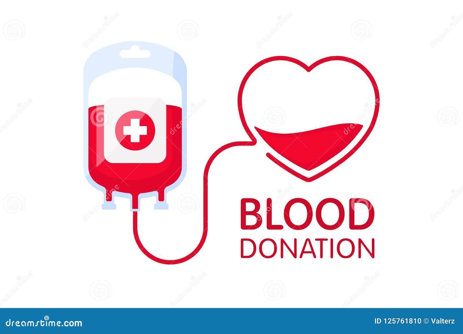 Donera blodbegreppet med blodpåsen och hjärta Illustration för vektor för bloddonation Världsblodgivaredag - Juni 14