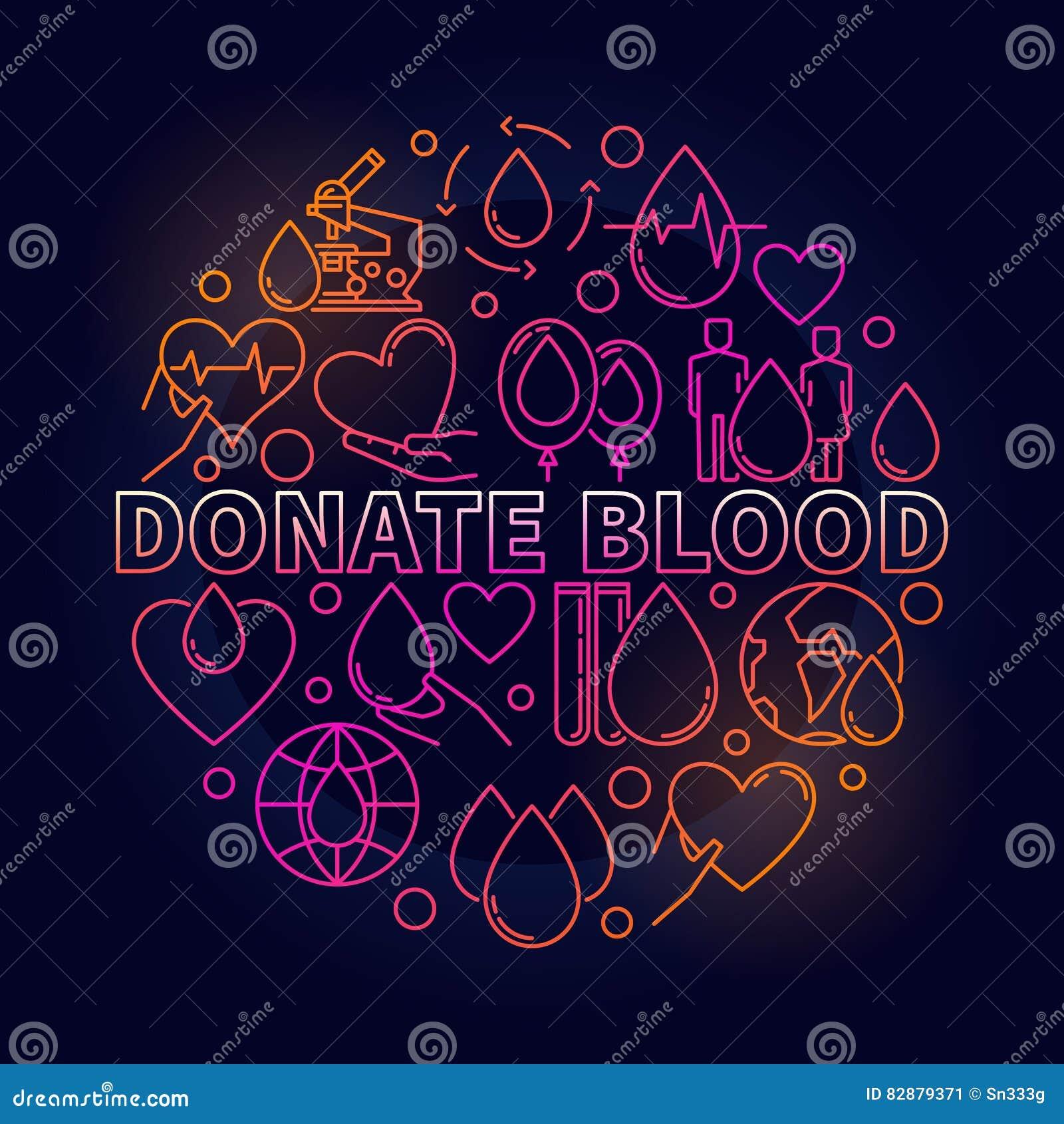 Donera den färgrika runda illustrationen för blod