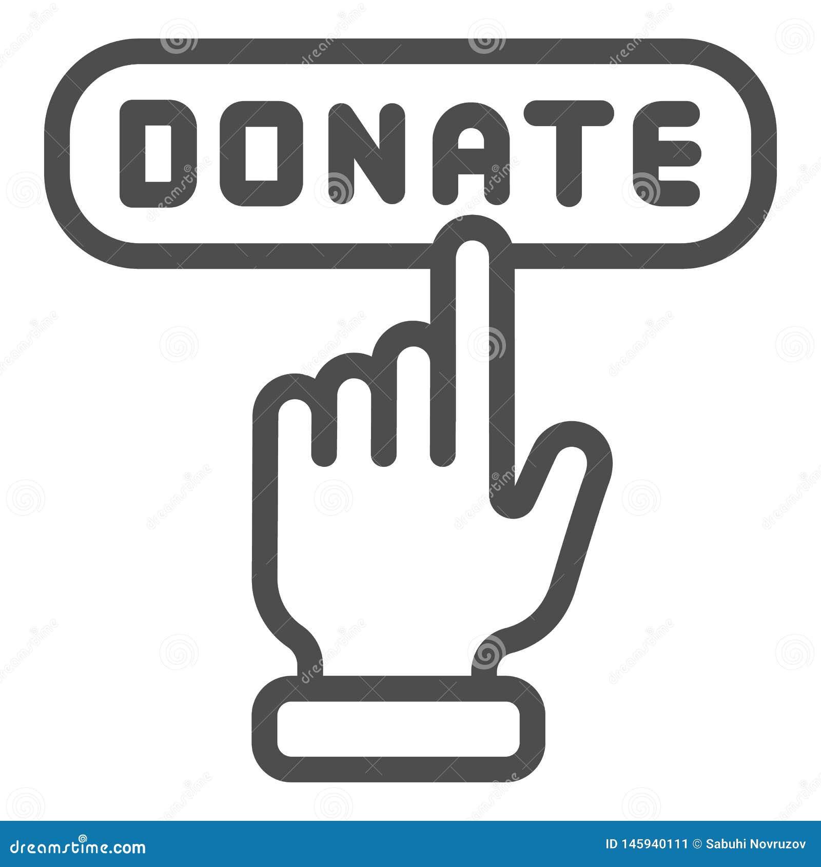 Donera knapplinjen symbol Hj?lpvektorillustration som isoleras p? vit Online-design f?r donation?versiktsstil som planl?ggs f?r