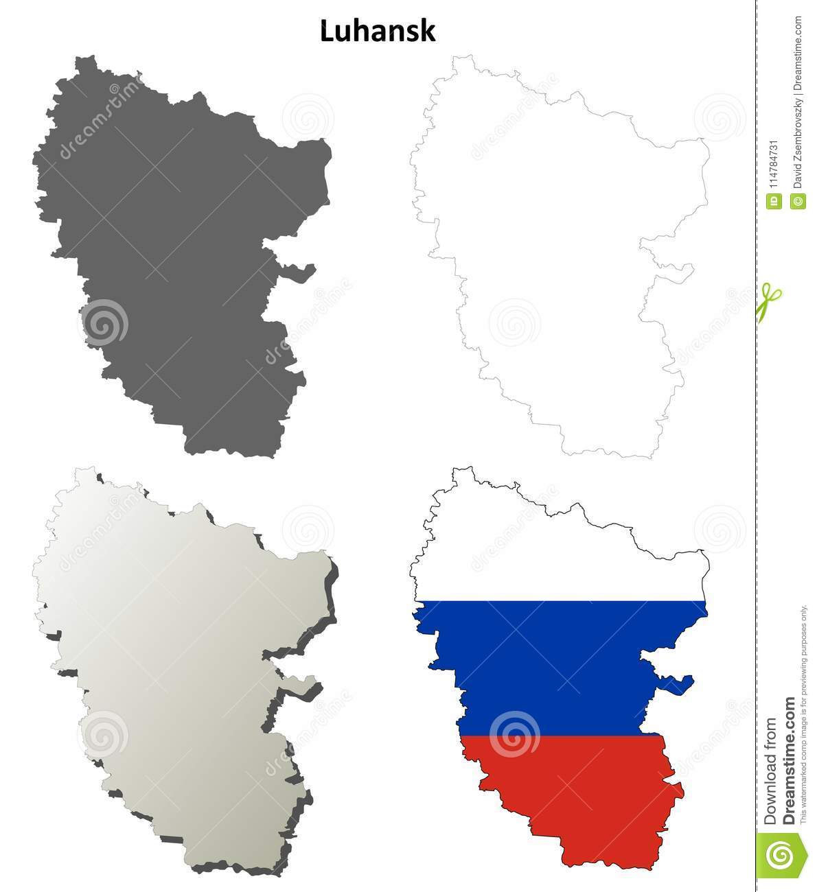 Donetsk Blank Outline Map Set Russian Version Stock Vector