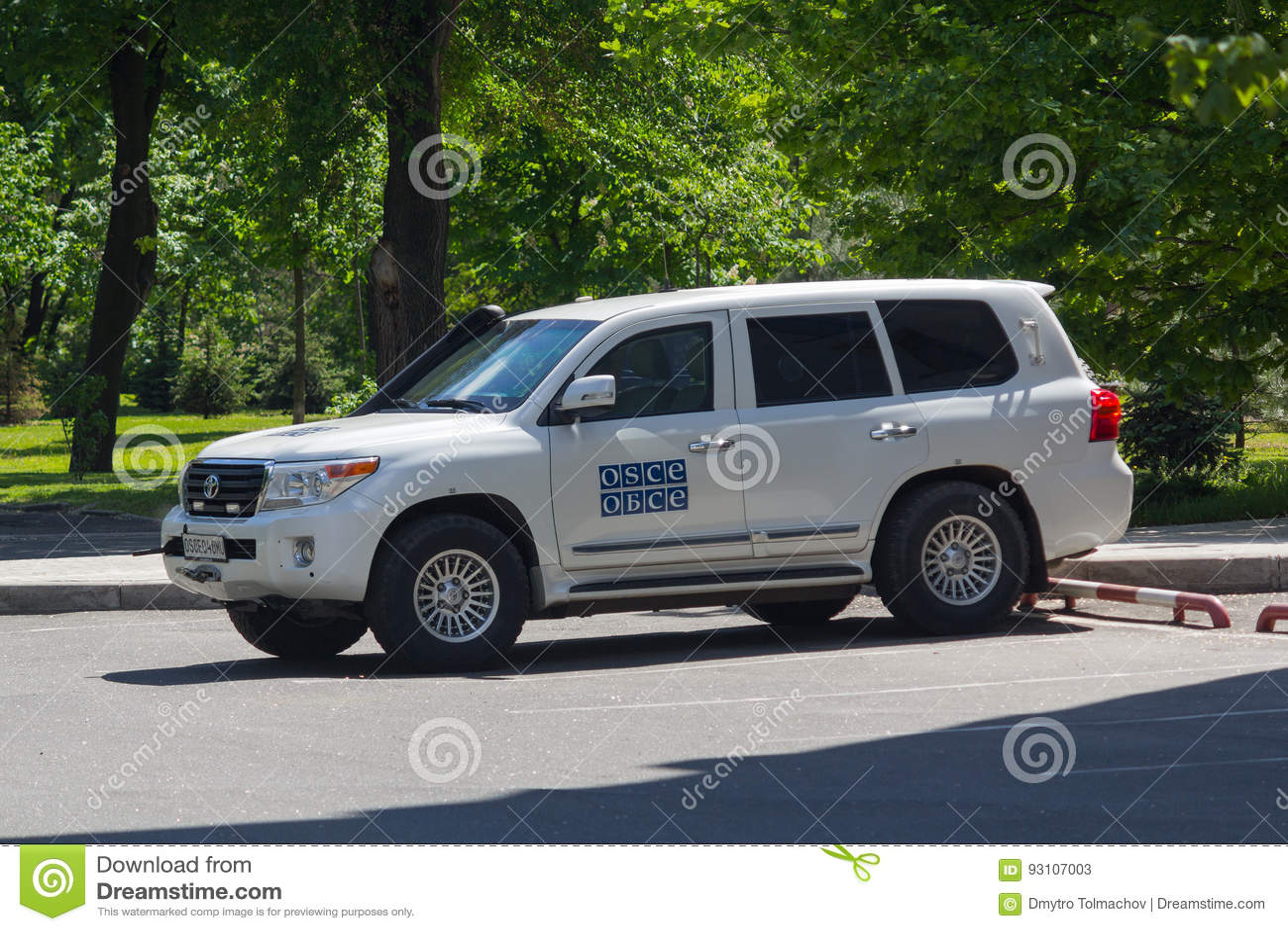 Donetsk Ukraina, Maj, - 17, 2017: Ð ¡ ar OSCE misi workin