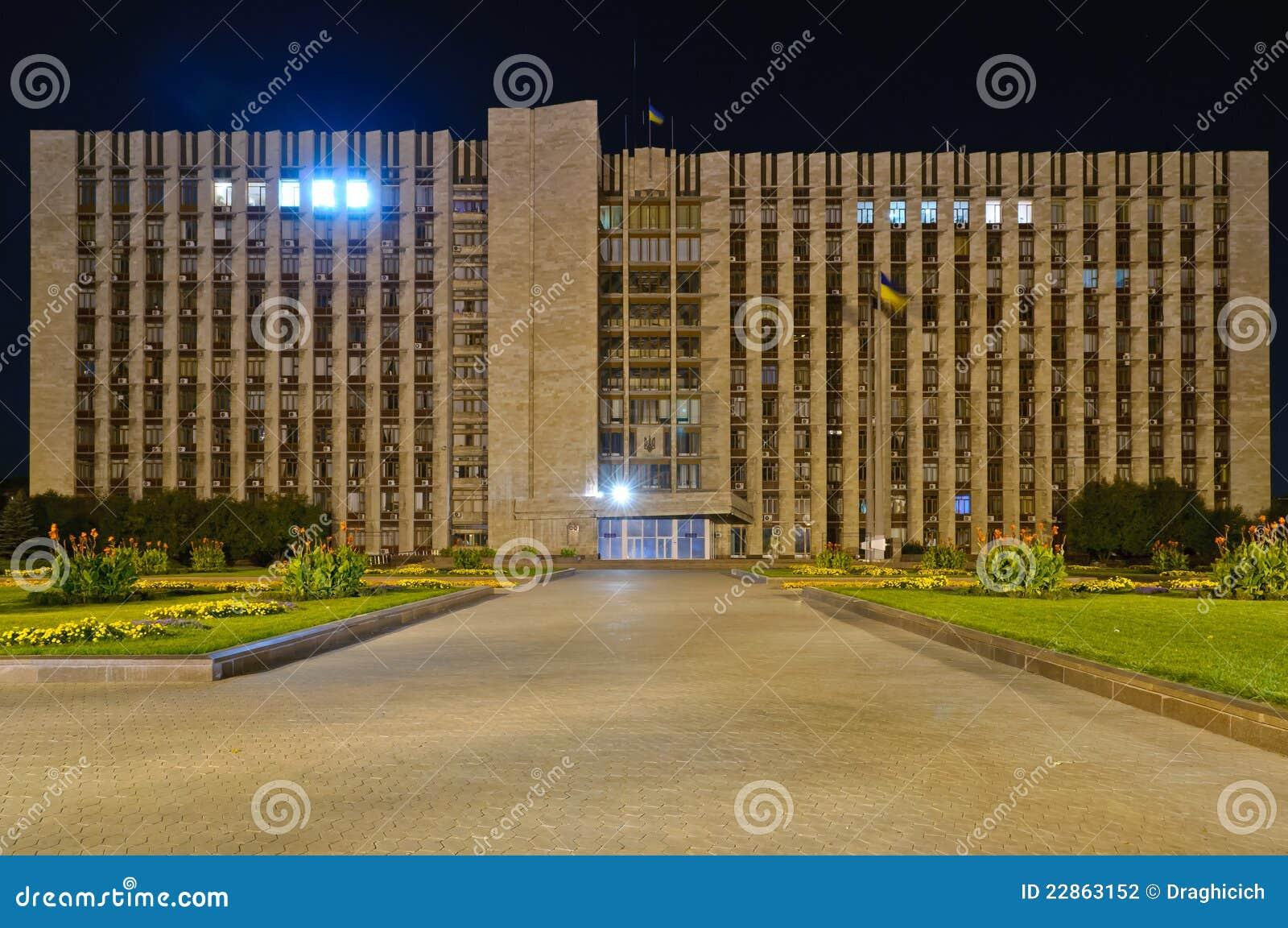 Donetsk, Ukraina przy noc,