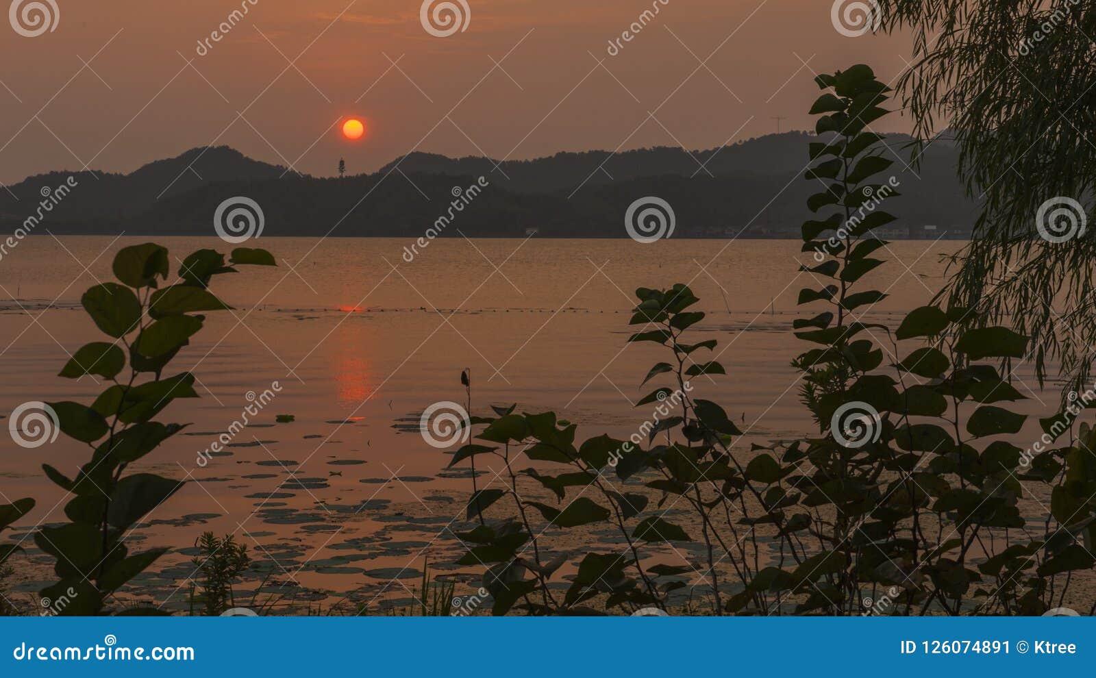 Dongqian Lake in the sunset
