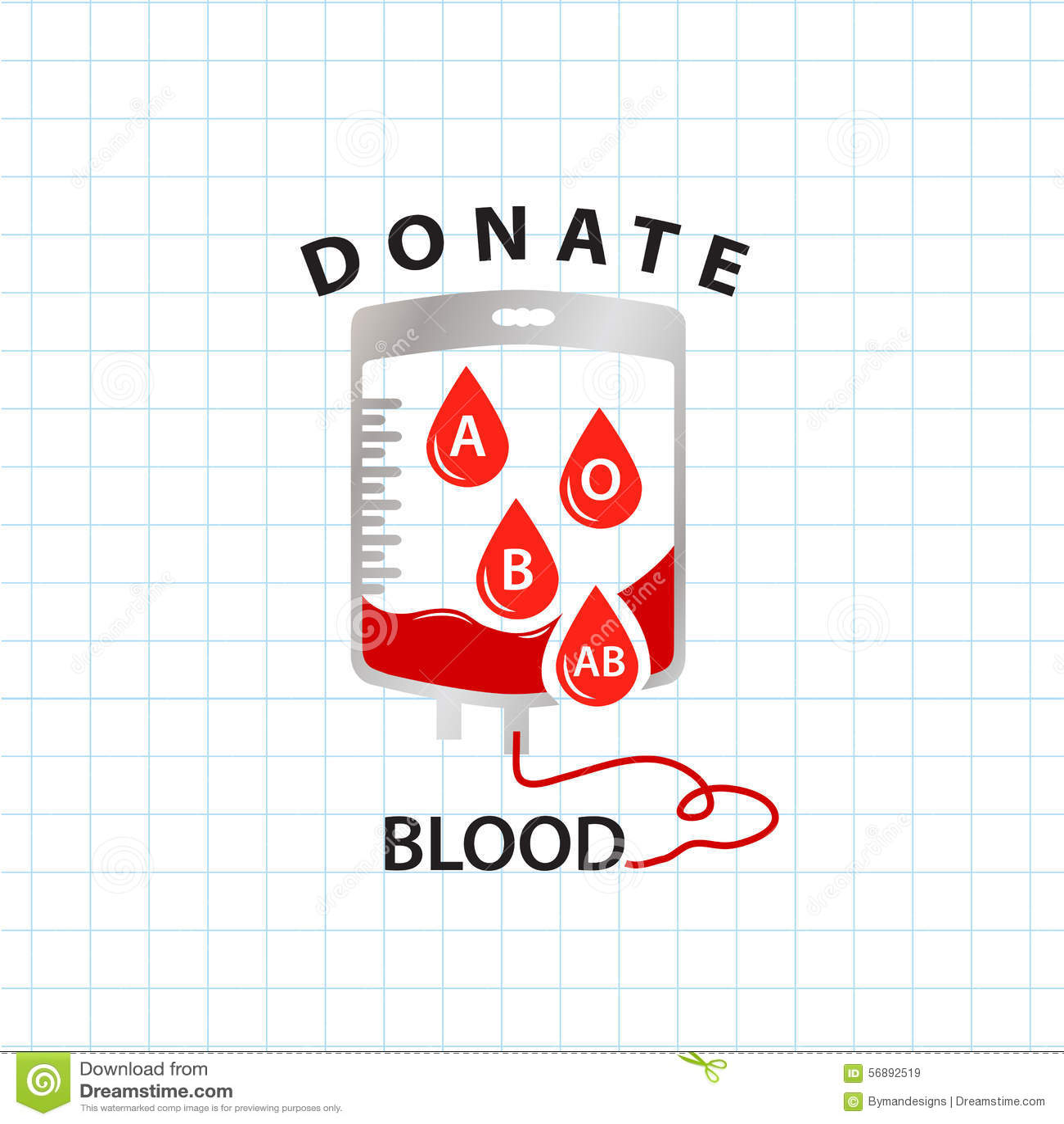 Doni il concetto del sangue con il sangue della borsa ed il gruppo sanguigno di goccia