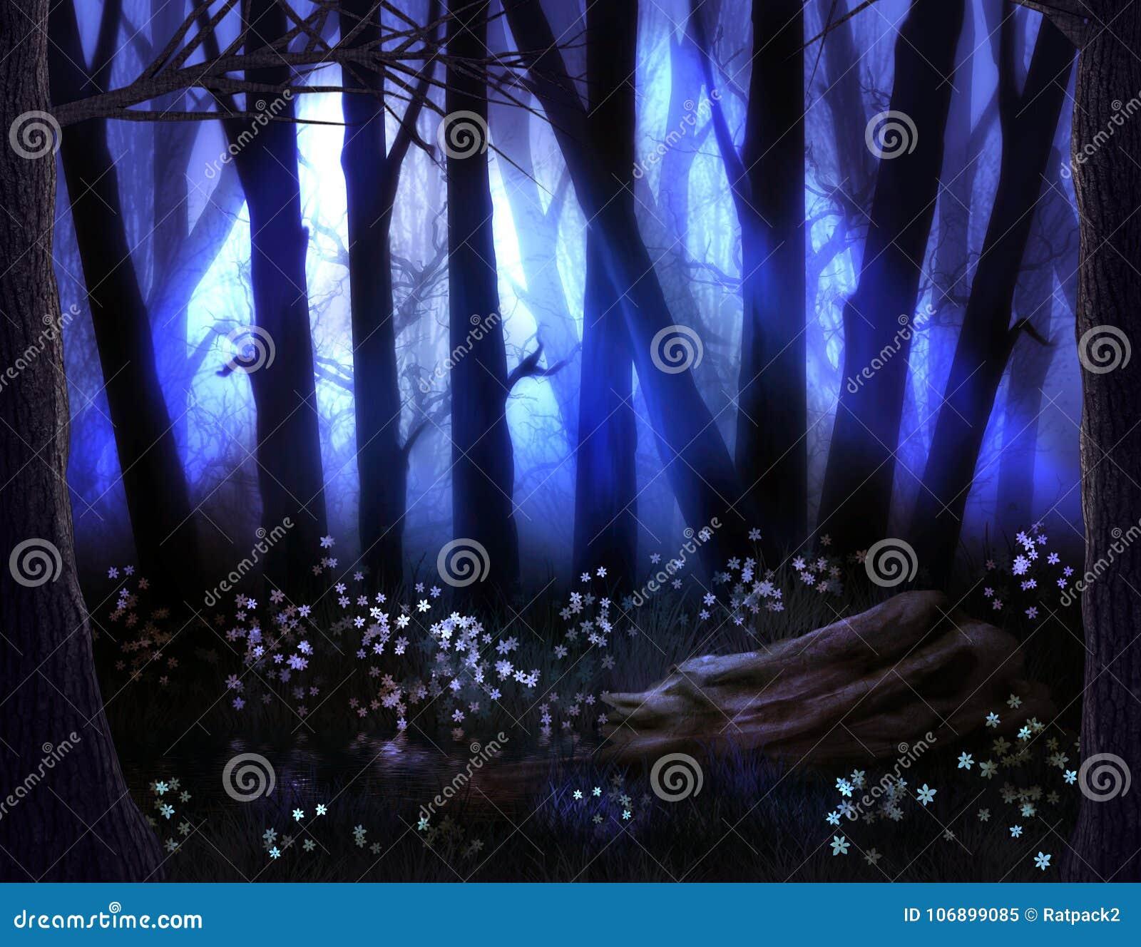 Donker Bos met Mist en Enge Bomen op Halloween