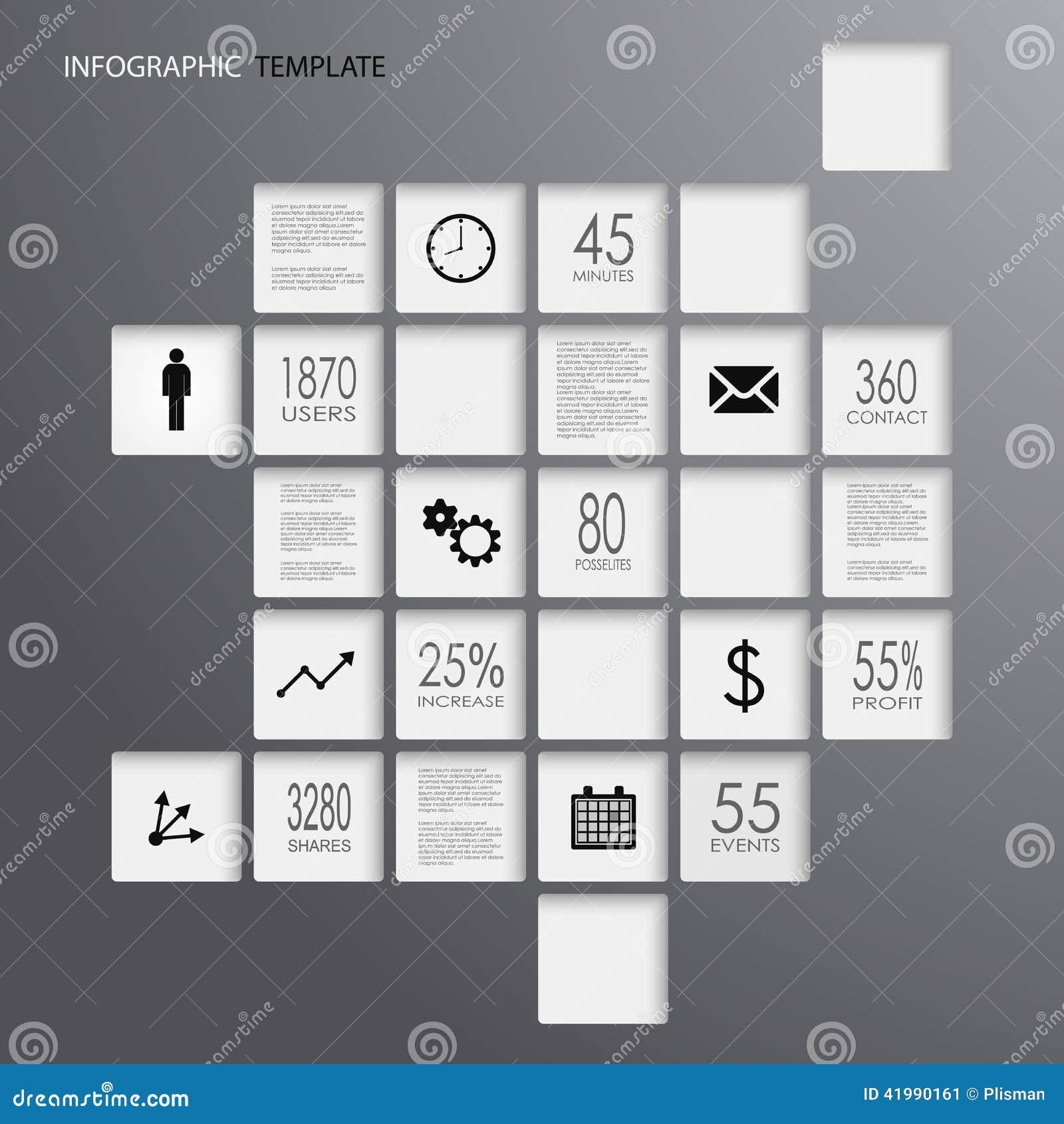 Donker de elementenmalplaatje van informatie grafisch vierkanten
