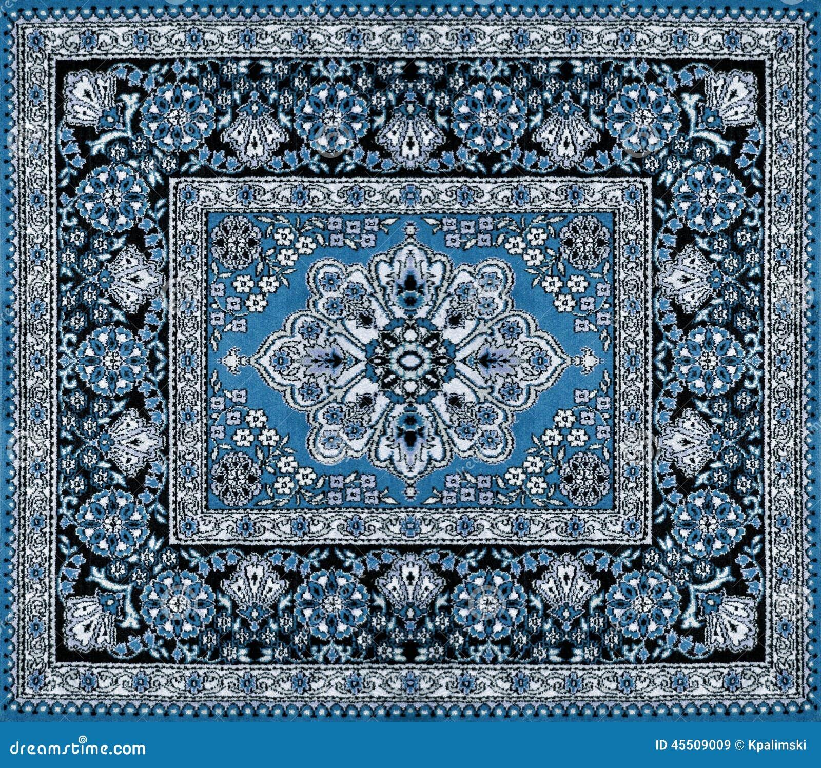 Donkerblauw Perzisch Tapijt Stock Afbeelding Afbeelding