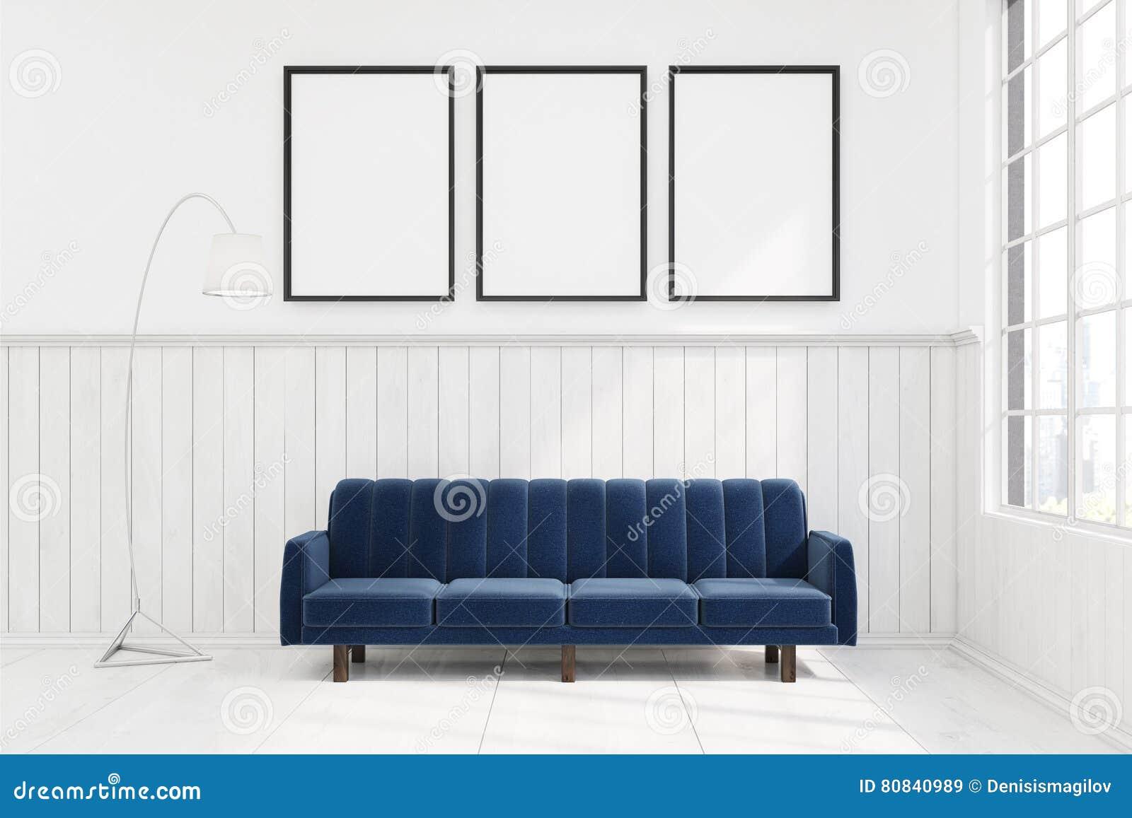 Bed En Bank Ineen.Donkerblauwe Bank In Een Ruimte Met Drie Affiches Stock Illustratie