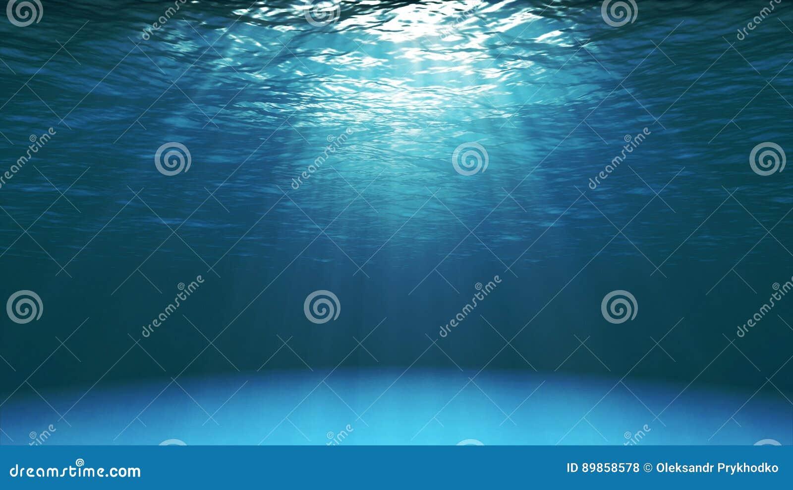Donkerblauwe oceaandieoppervlakte van onderwater wordt gezien