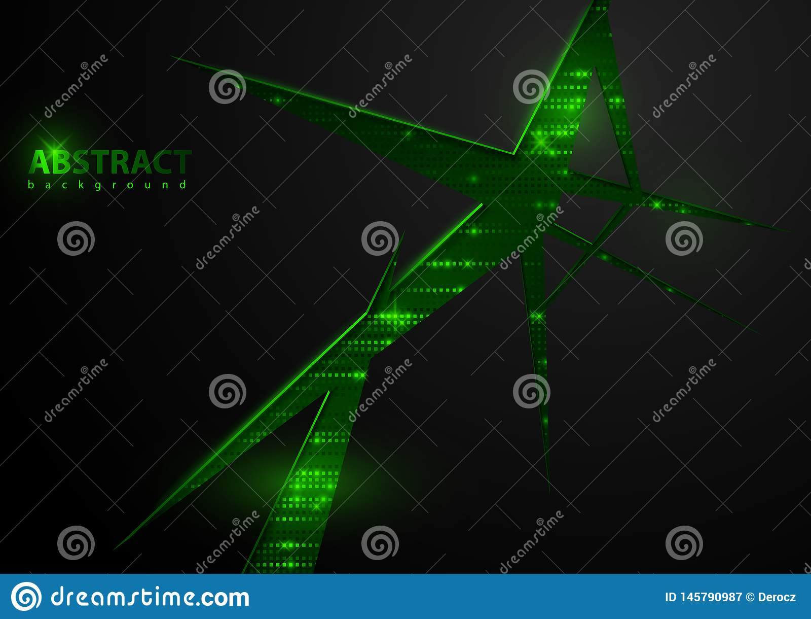 Donkere Abstracte Technologie-Achtergrond met Groene Elementen