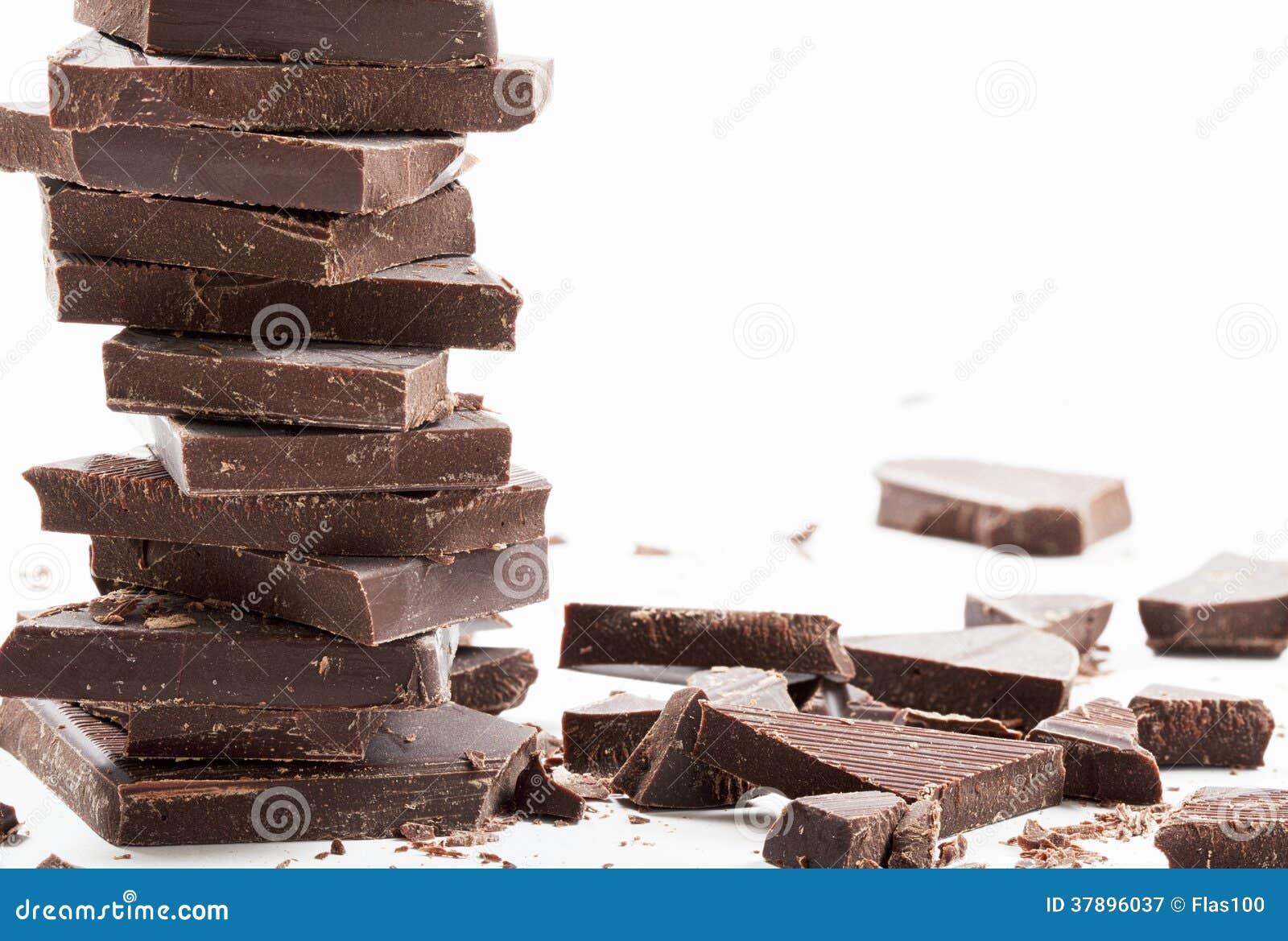 Donkere chocoladerepenstapel