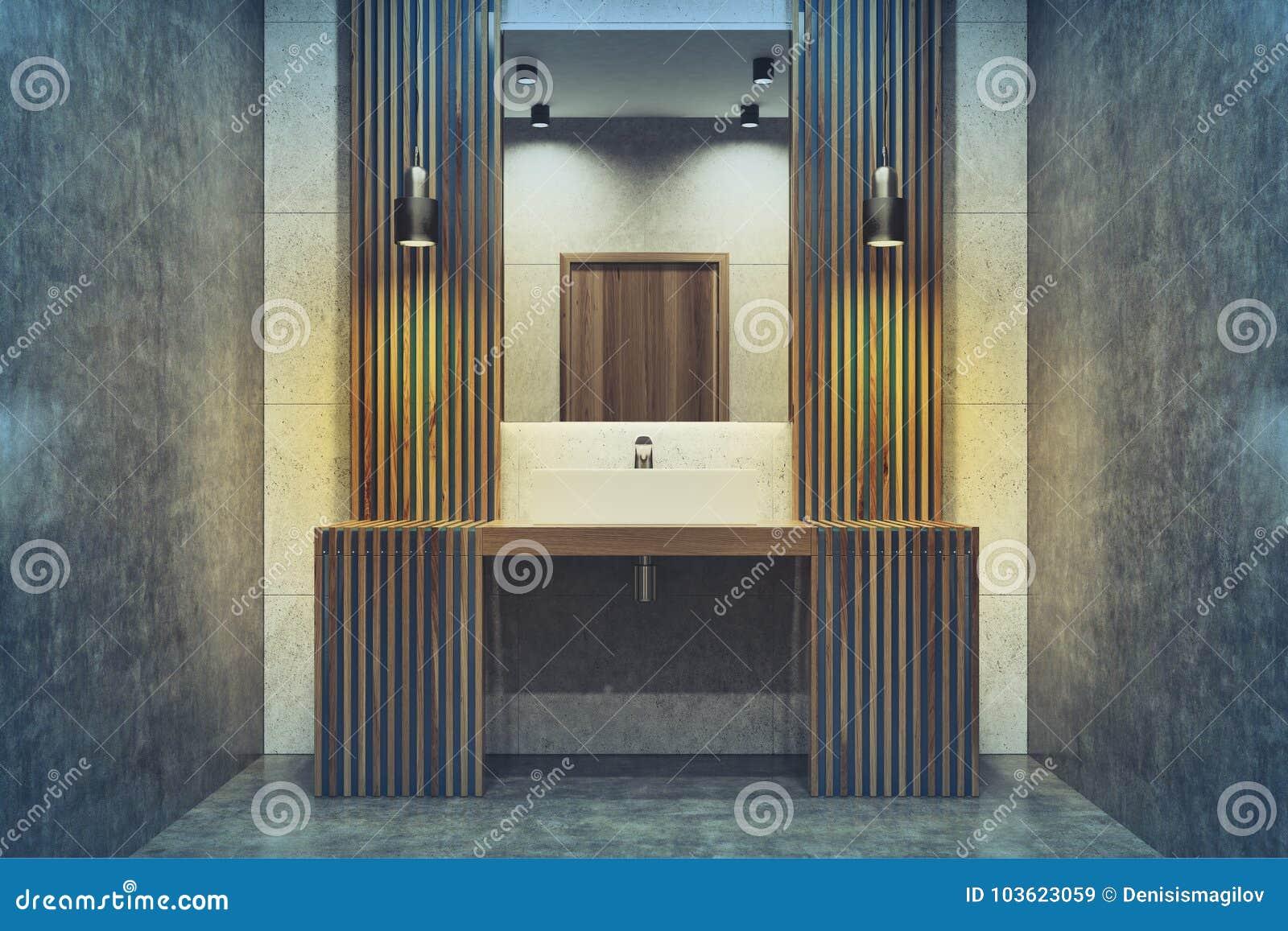 donkere houten badkamers gootsteen gestemde spiegel