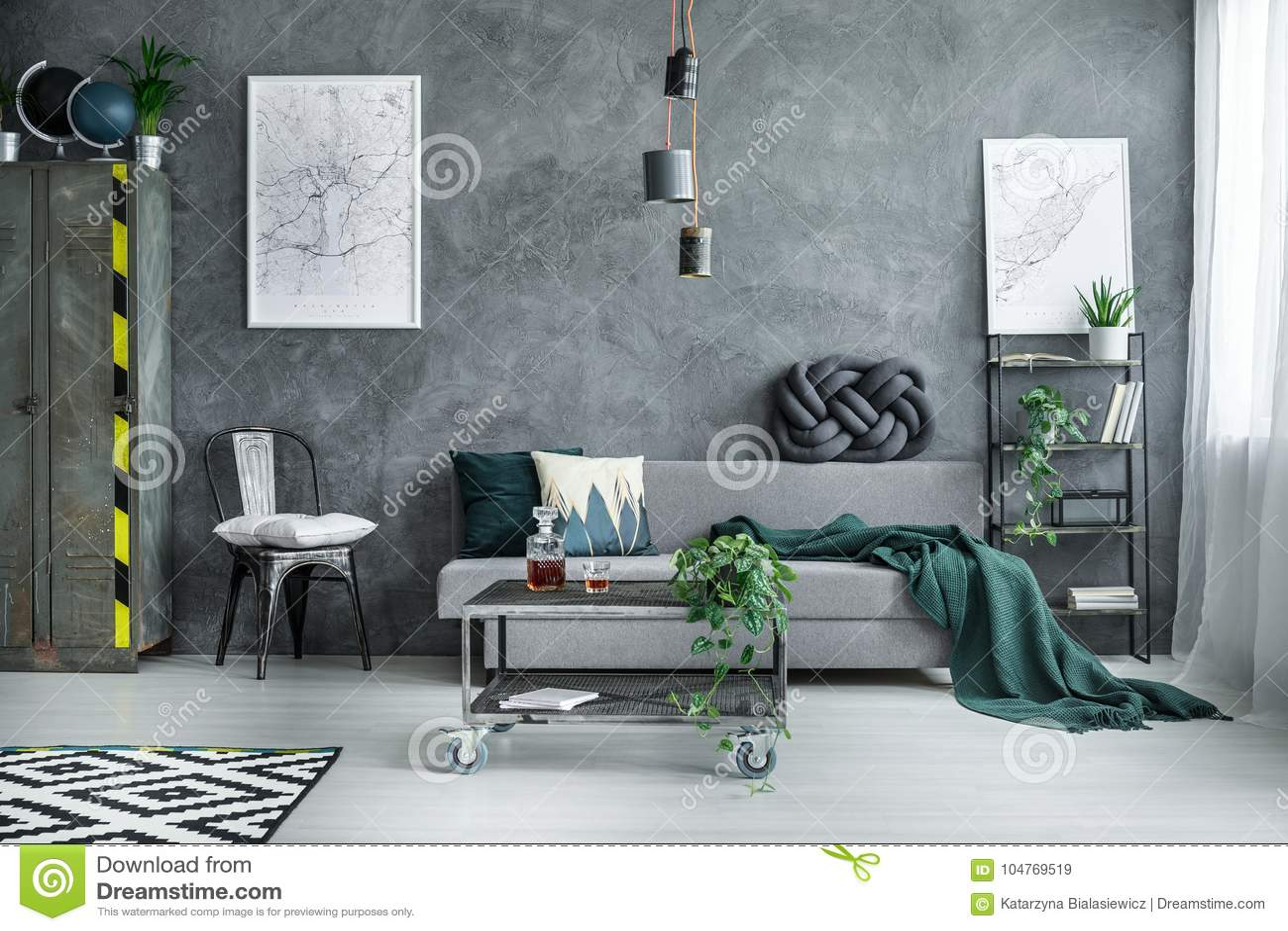 Donkere Industriële Woonkamer Stock Afbeelding - Afbeelding ...