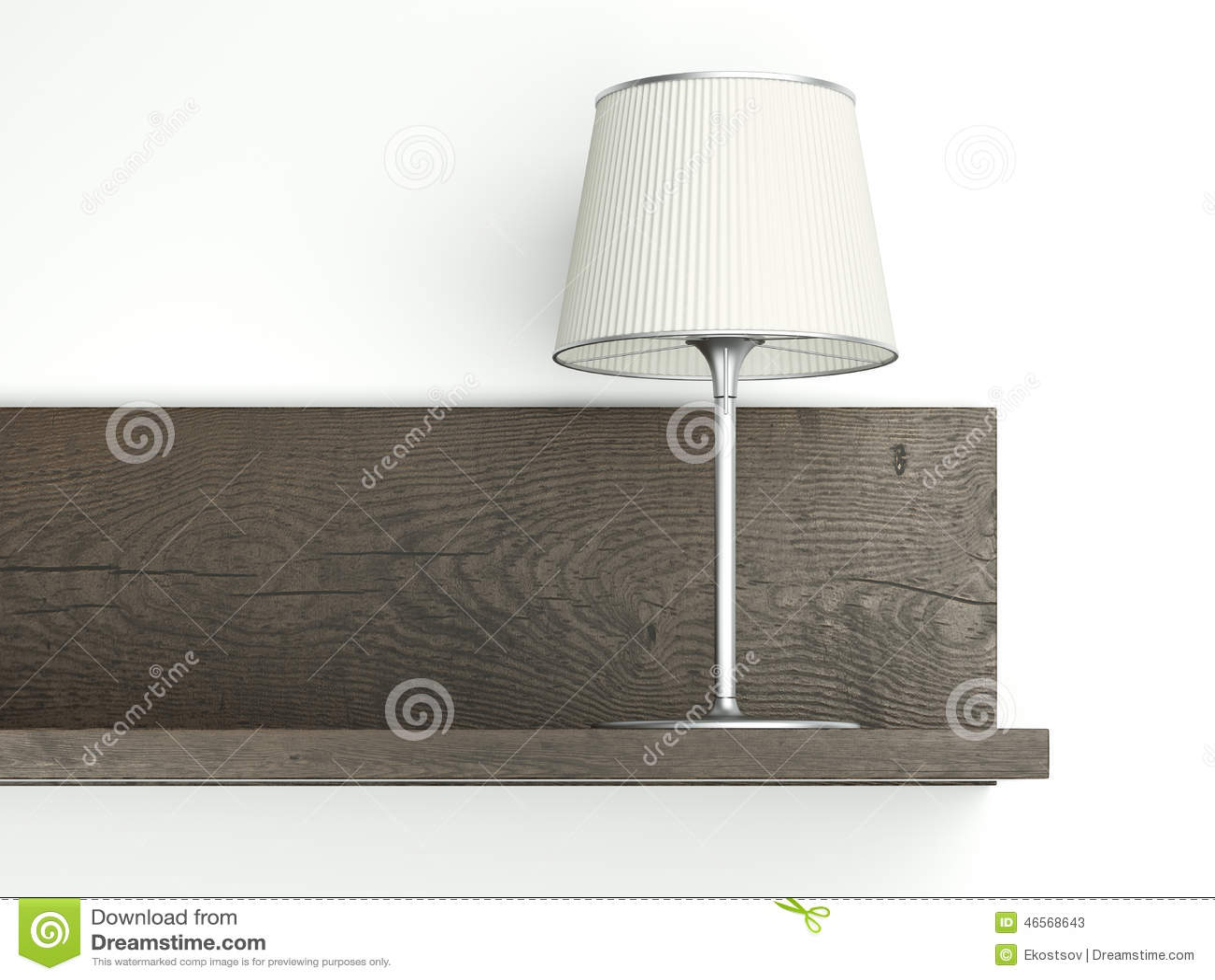 Wandplank Met Lamp.Donkere Plank Op De Muur Met Lamp Stock Illustratie Illustratie