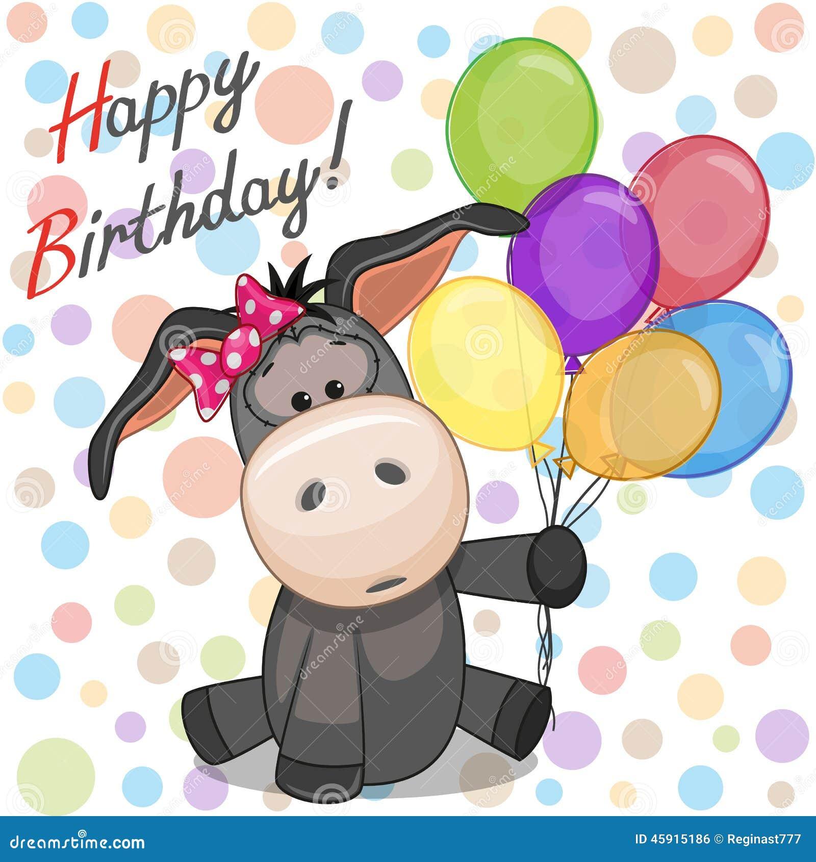 Donkey With Balloons Vector Image 45915186 – Donkey Birthday Card