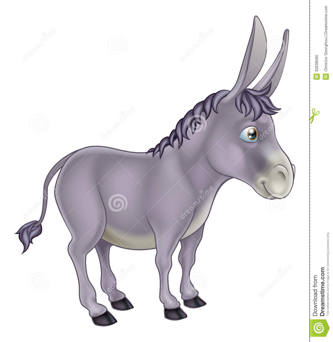 An illustration of a cute grey cartoon donkey character.