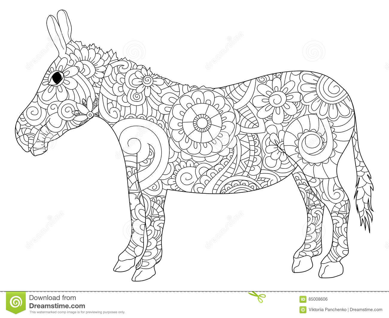 Donkey Coloring Vector For Adults Stock Vector