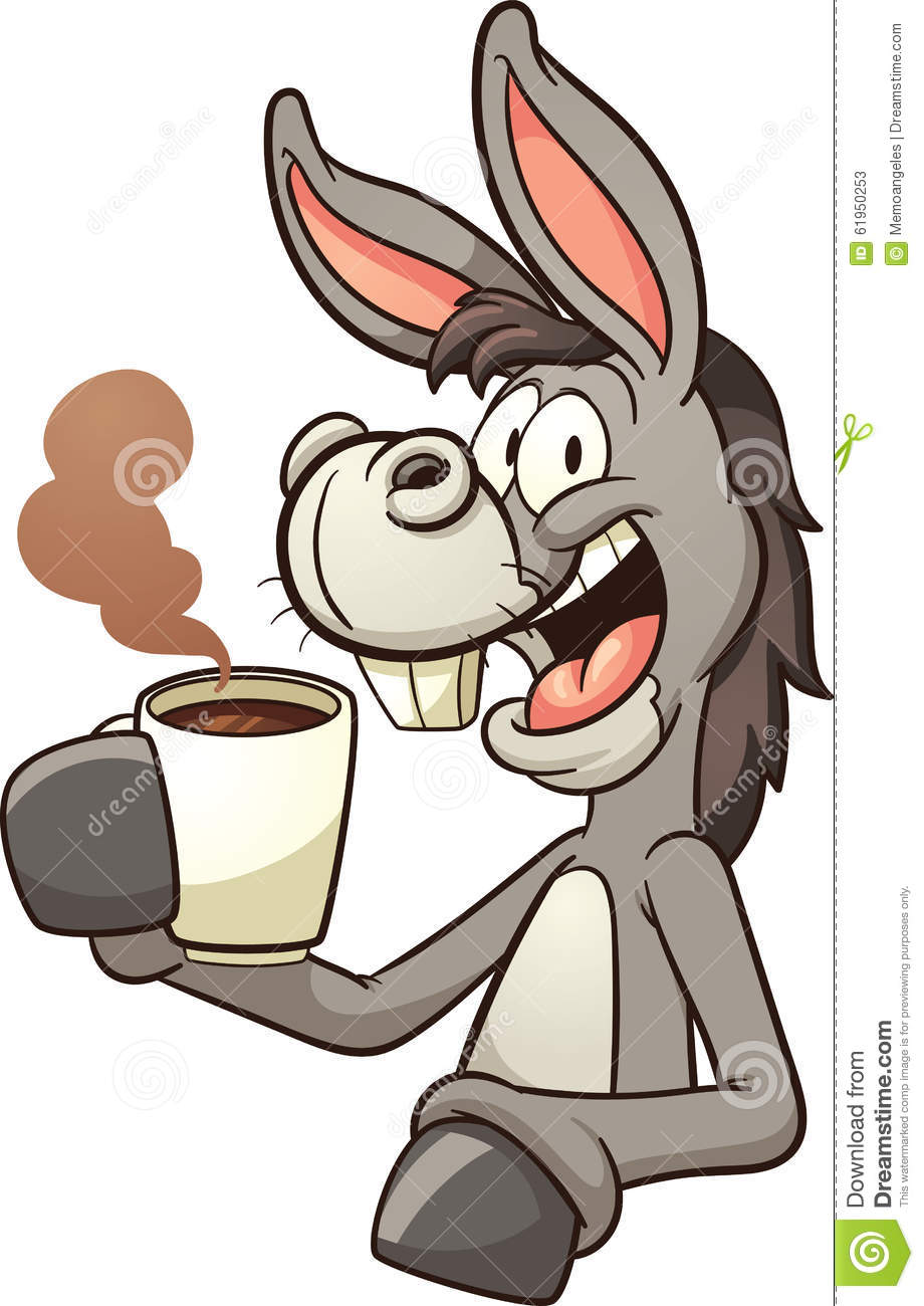 Donkey Drinking Coffee Stock Vector - Image: 61950253