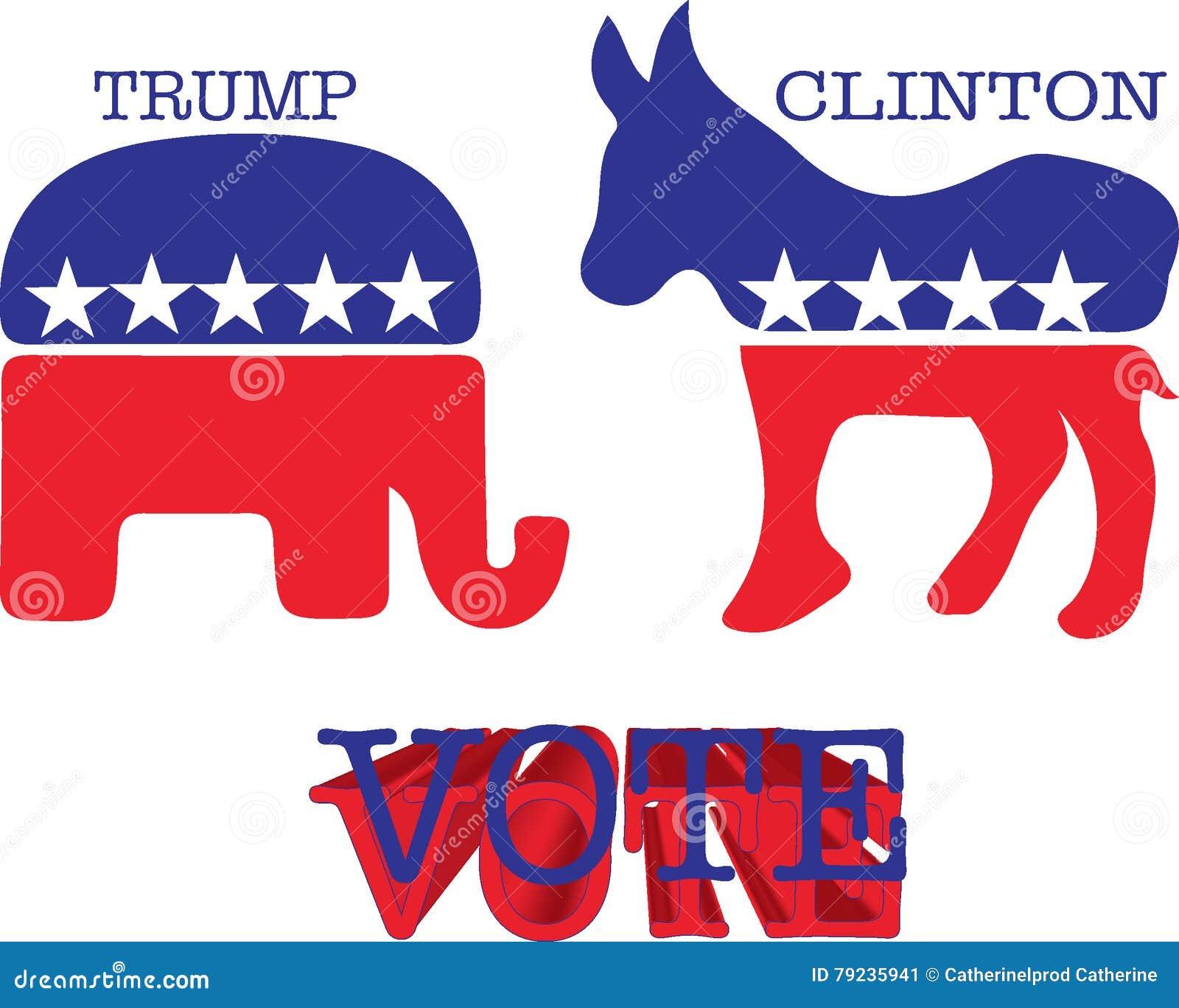Donkey And Elephant Symbols Vector Illustration Editorial Photo