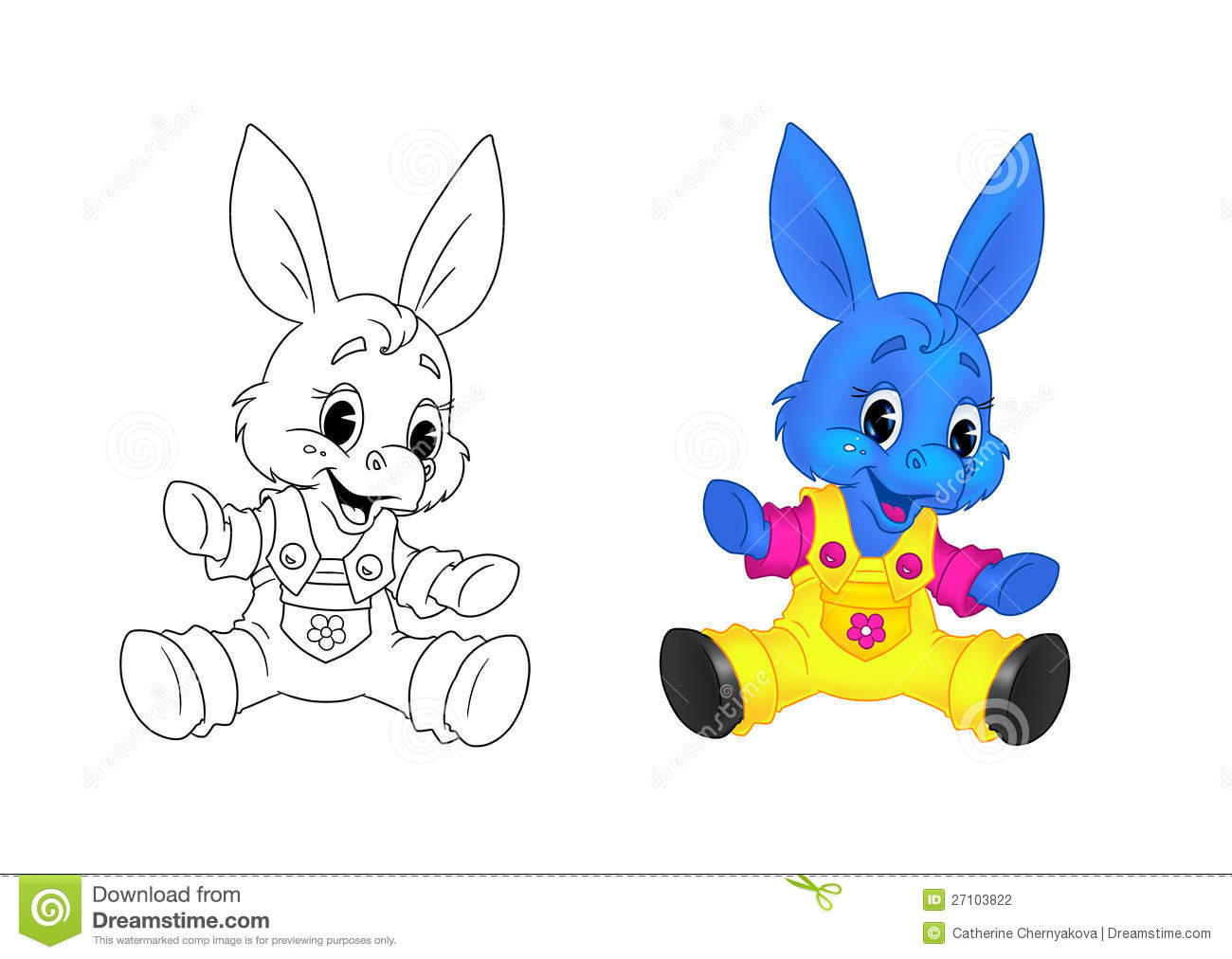donkey kid cartoon coloring page stock photography image 27103822