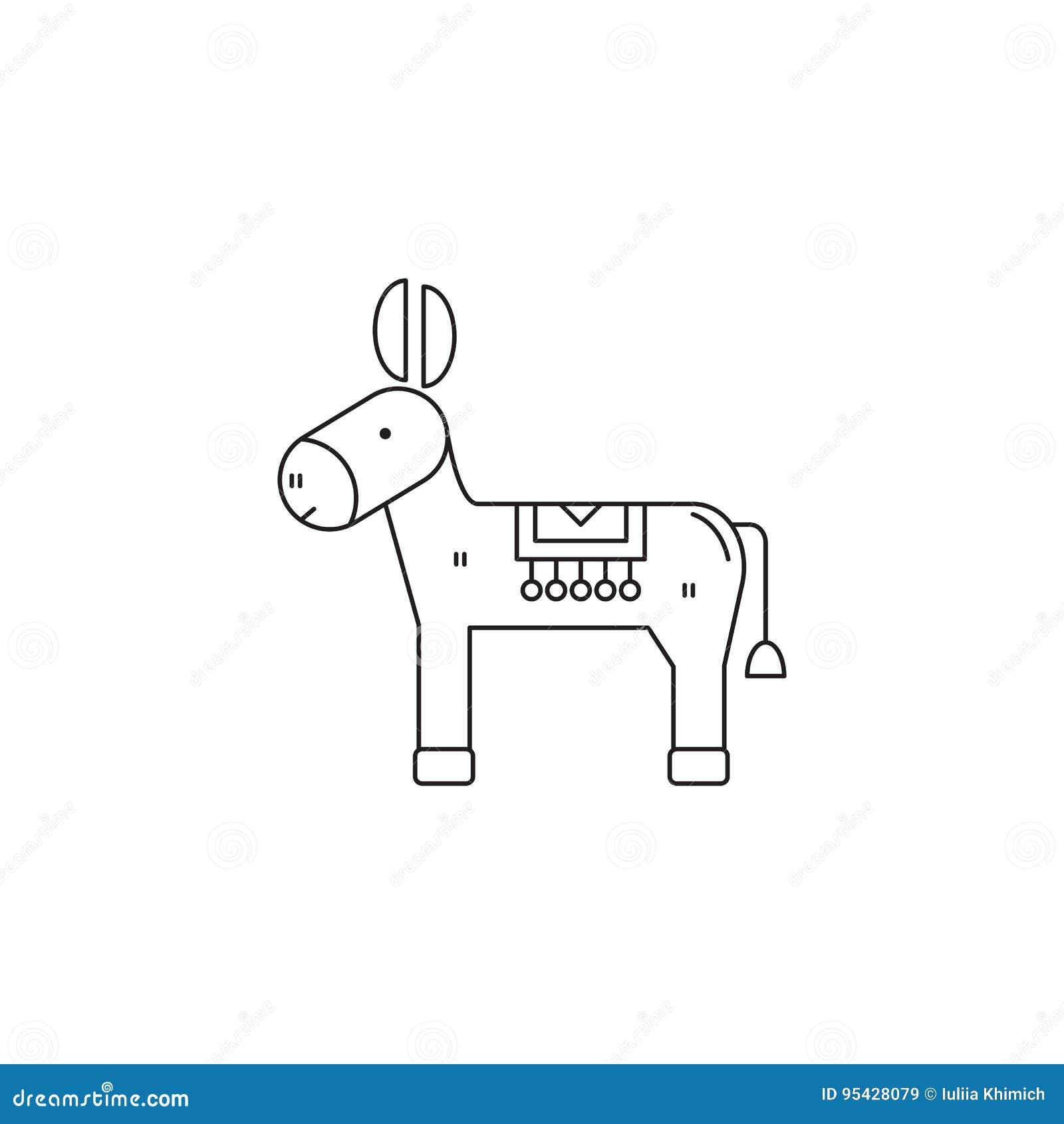 Donkey line icon stock vector. Illustration of burro - 95428079