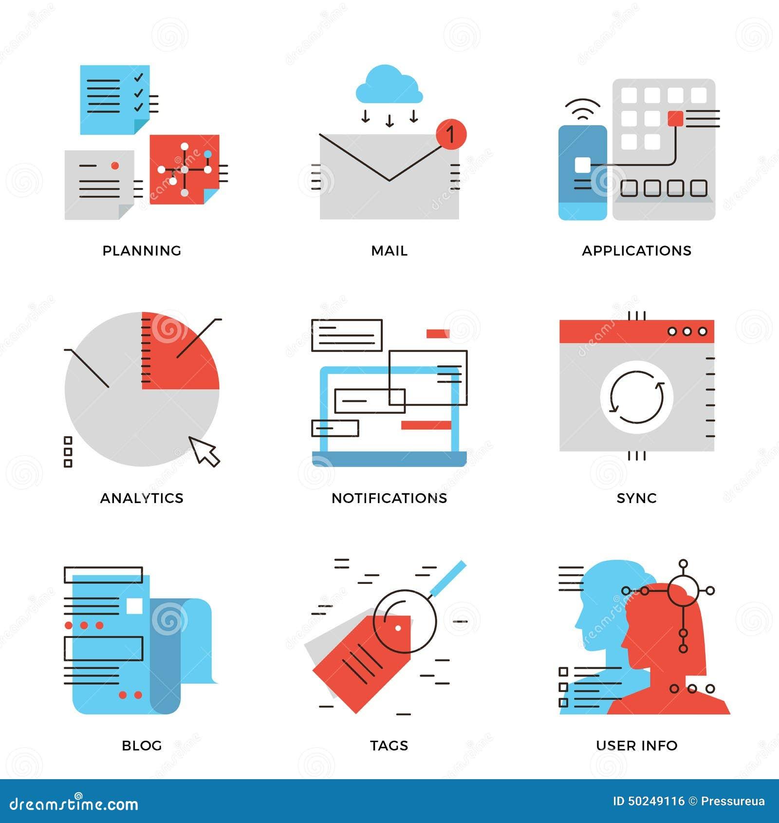Données commerciales et ligne de communication icônes réglées