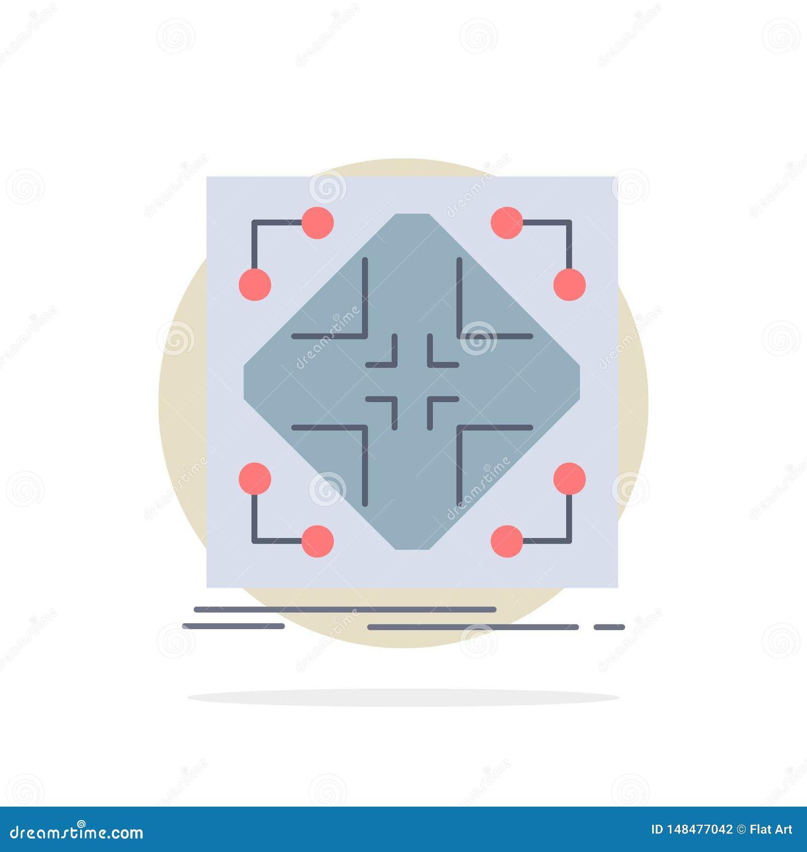 Données, infrastructure, réseau, matrice, vecteur plat d icône de couleur de grille